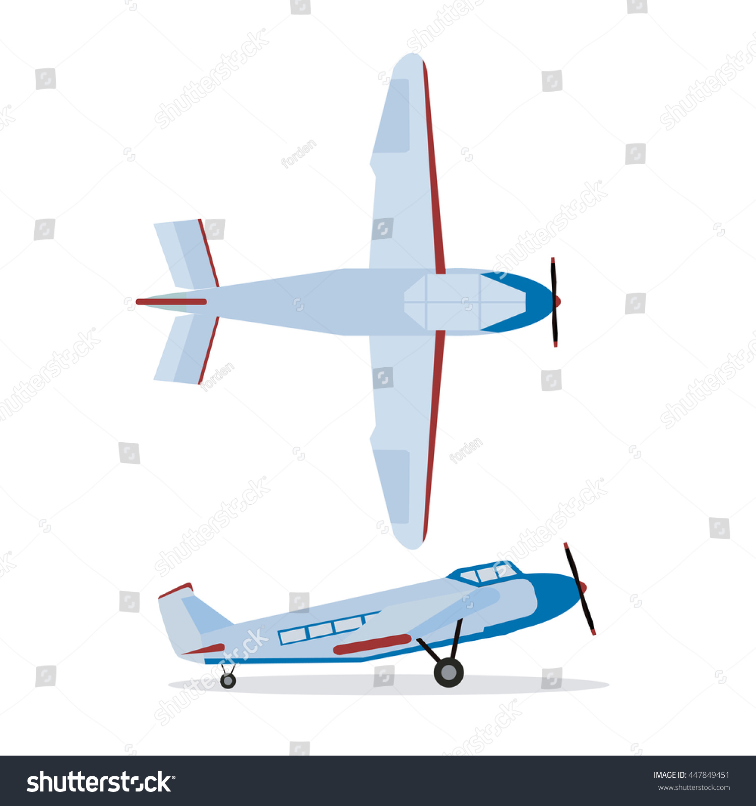 Uncategorized Plane Color color flat icons airplane propeller plane stock vector 447849451 of with top and side view illustration