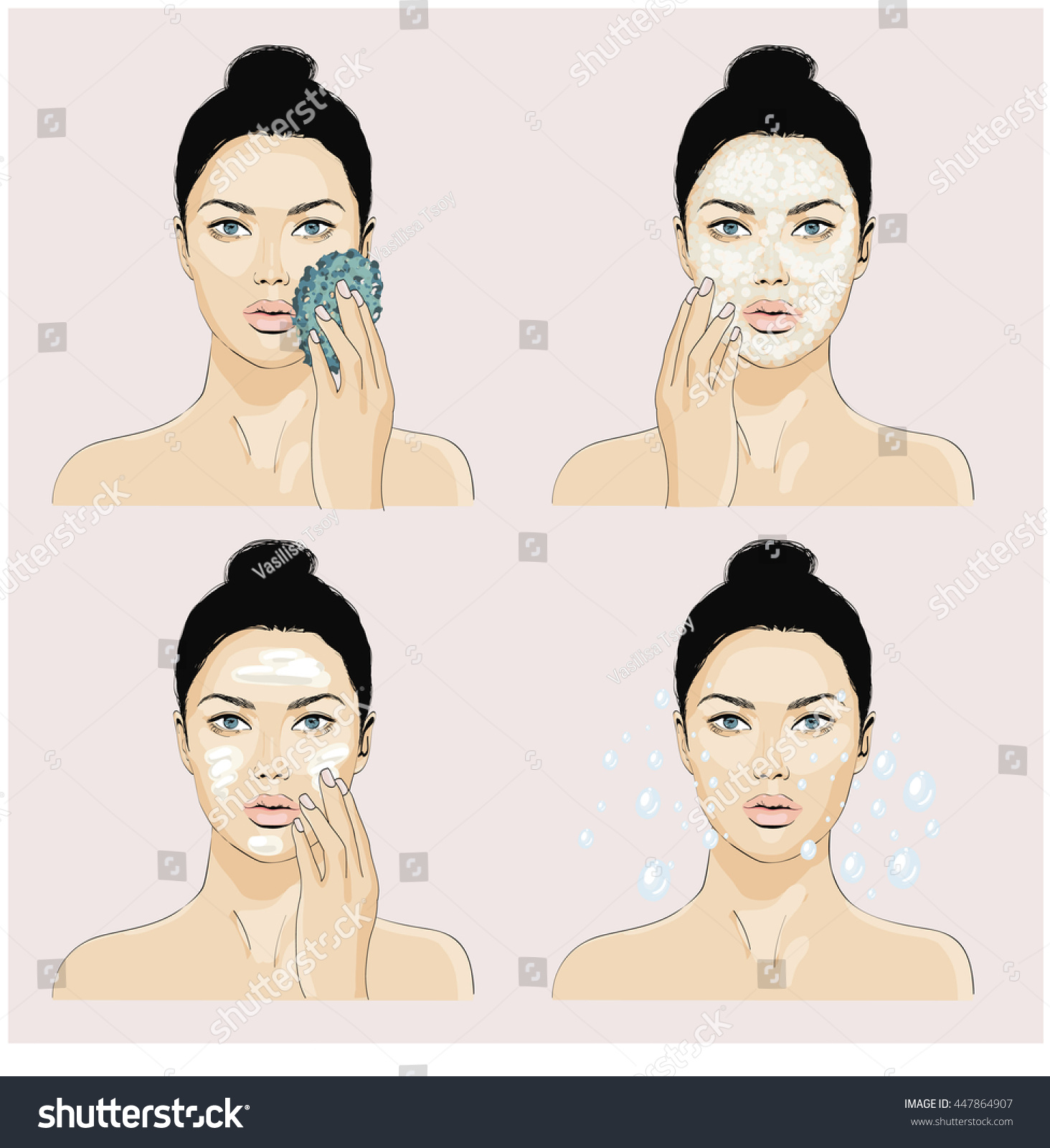 Daily face care correct diagram washing stock vector 447864907 daily face care the correct diagram of the washing and skin care the girl pooptronica Image collections