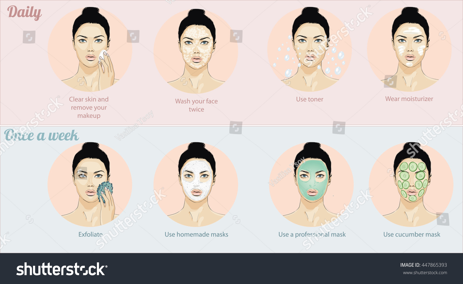 Info graphic daily face care correct stock vector 447865393 info graphic daily face care the correct diagram of the washing and skin care pooptronica Image collections
