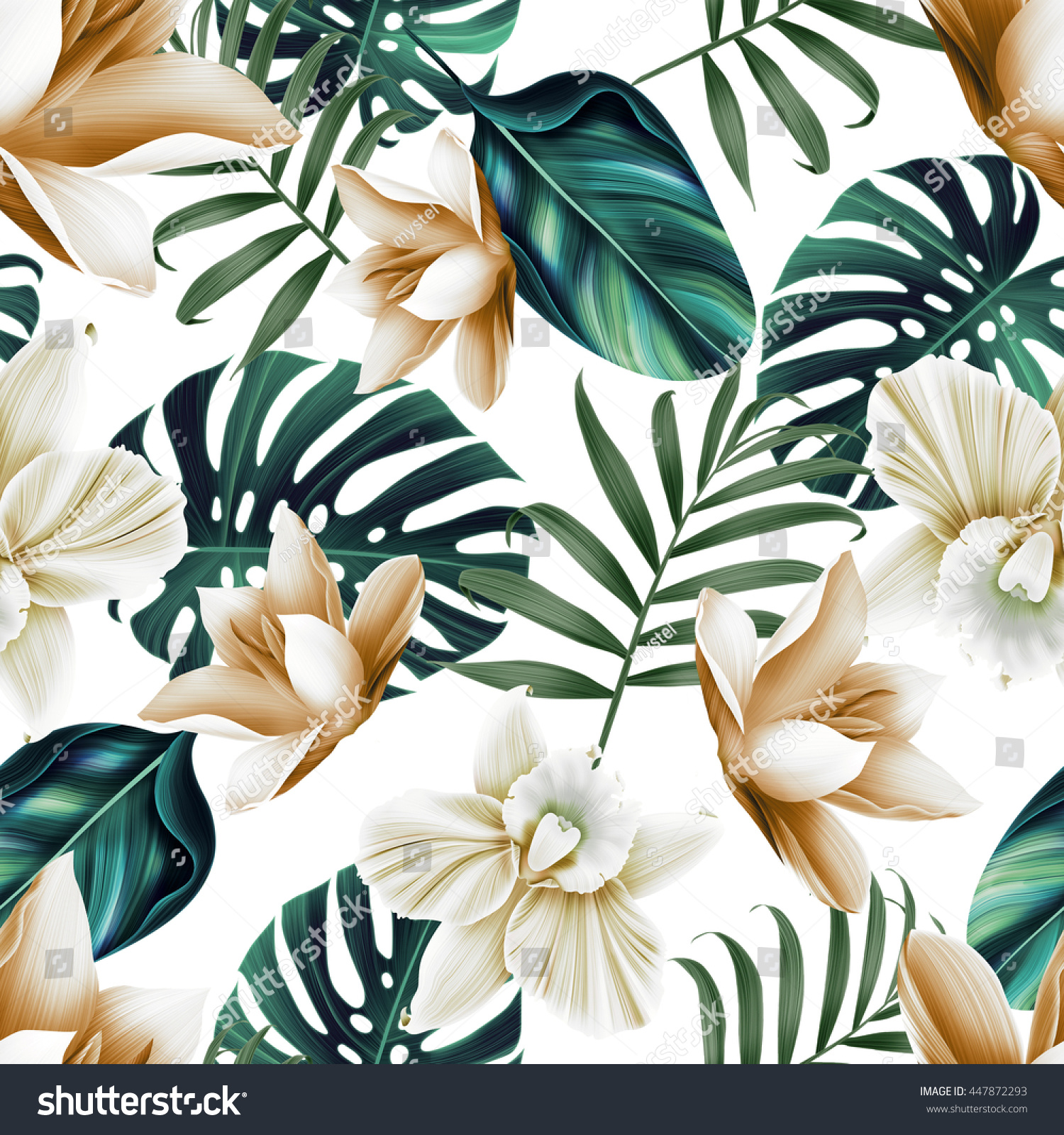 Seamless Tropical Flower Plant Leaf Pattern Stock ...