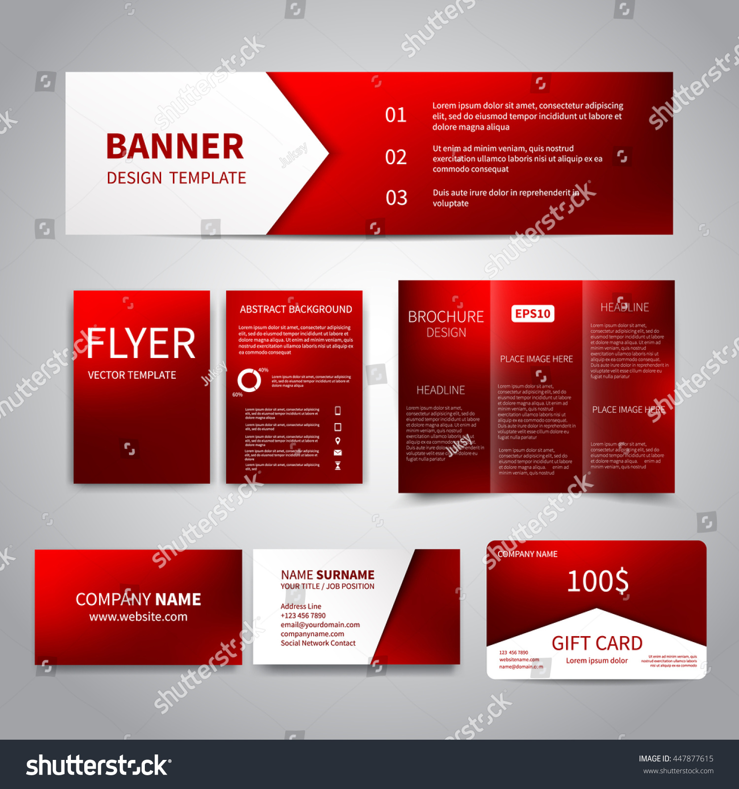 banner flyers brochure business cards gift stock vector 447877615 banner flyers brochure business cards gift card design templates set red