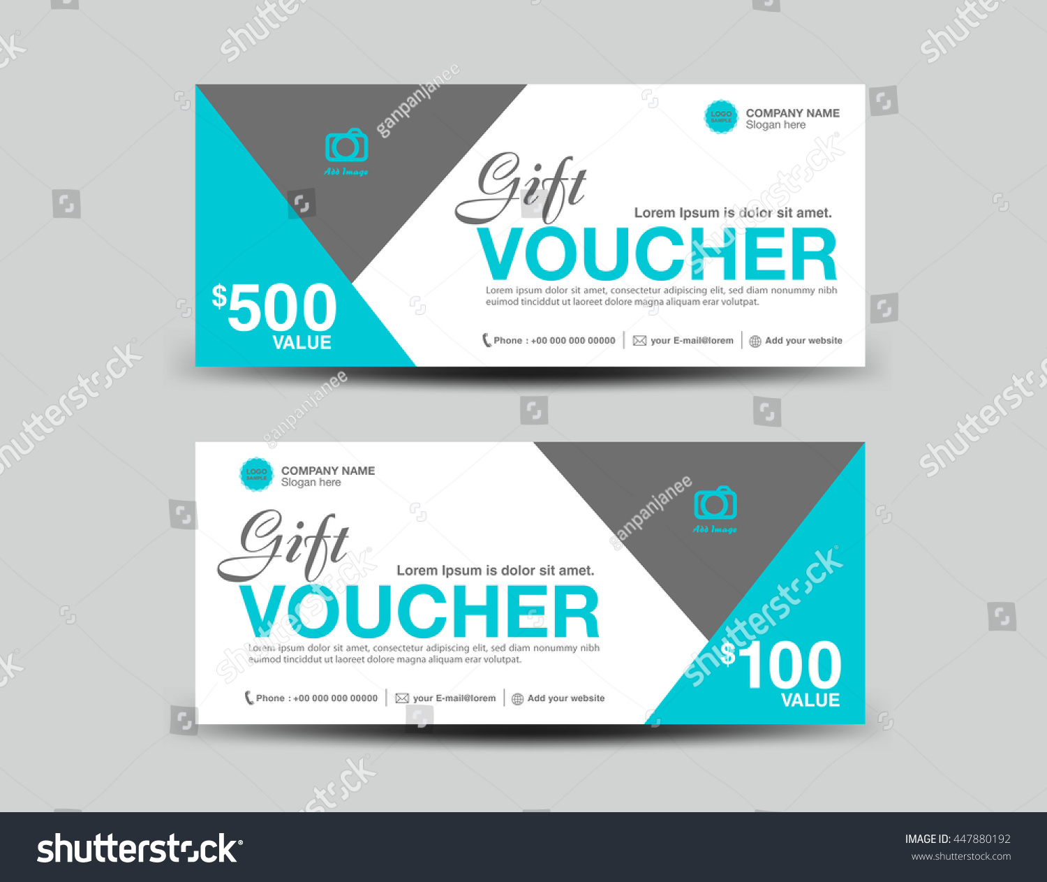 Blue Gift Voucher Template Flyer Design Stock Vector 447880192 ...