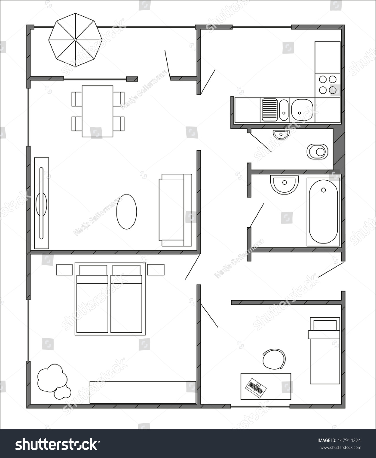 Architecture plan furniture top view 3rooms stock vector for Apartment stock plans