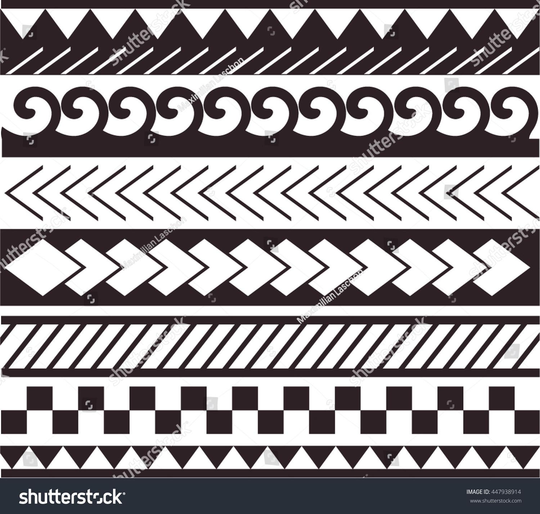 Maori Bracelet Tattoo: Maori Polynesian Style Bracelet Tattoo Black Stock Vector