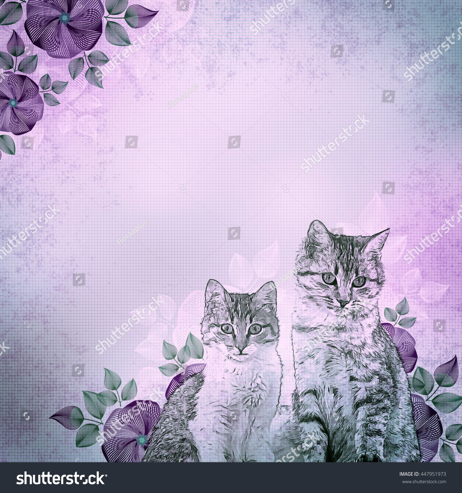 https://image.shutterstock.com/z/stock-photo-ancient-illustration-kittens-and-flowers-violet-vintage-background-basis-for-design-447951973.jpg