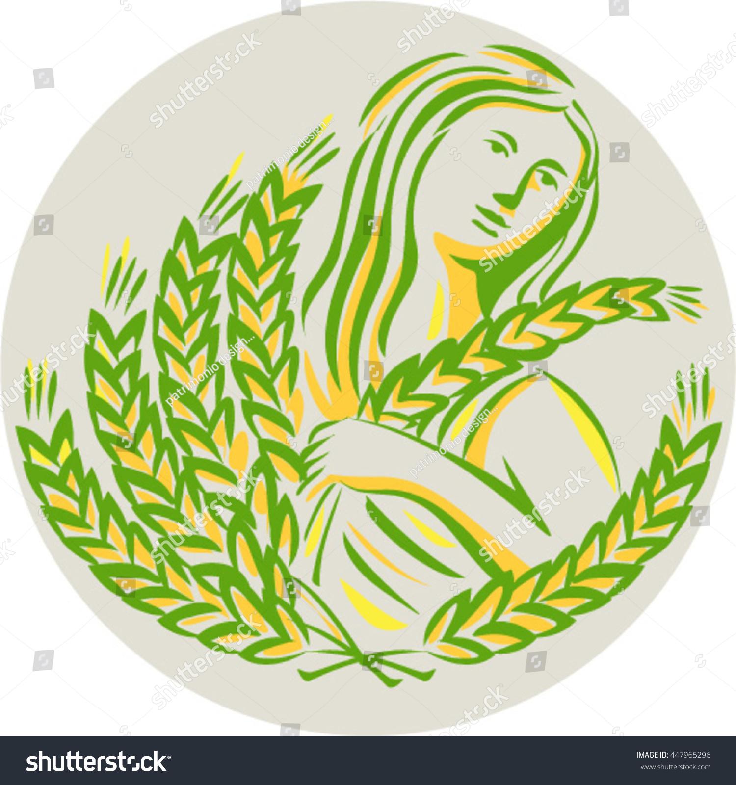 Illustration Showing Demeter Greek Goddess Harvest Stock Vector