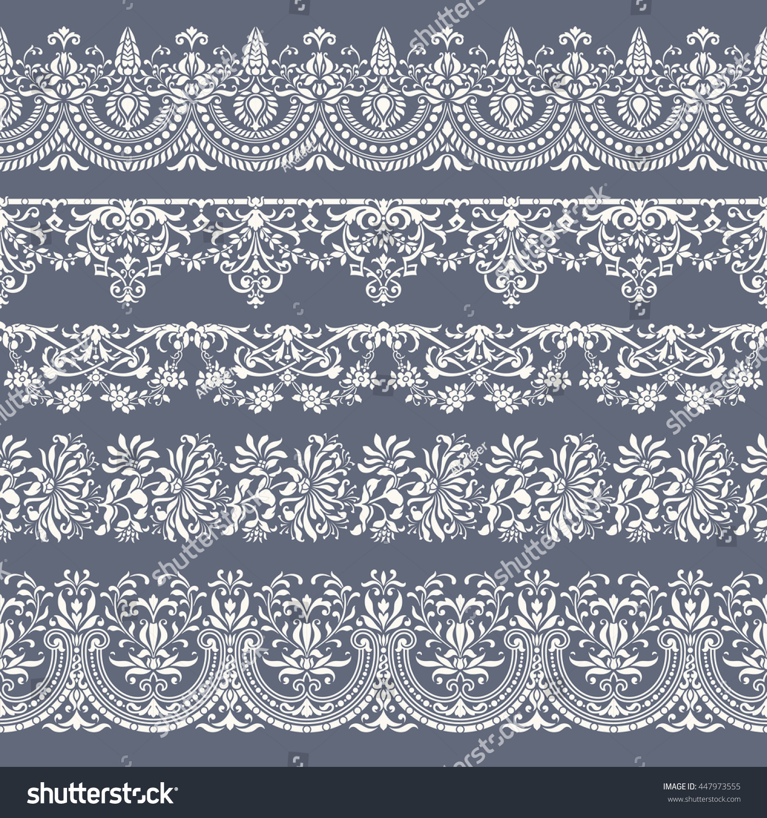 collection five tiling floral vector borders stock vector royalty