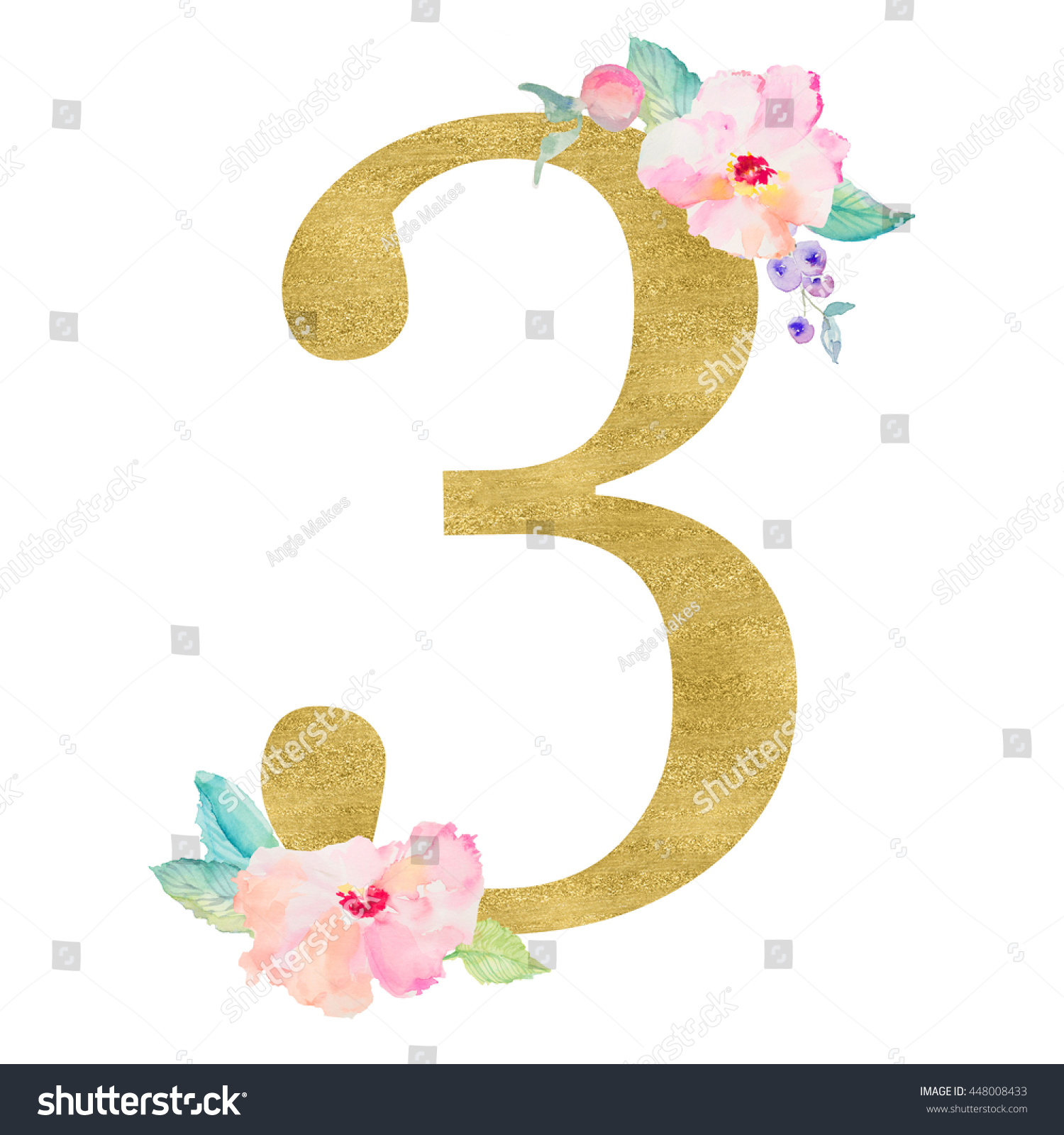 Gold Number 3 Cute Number Three Stock Illustration 448008433