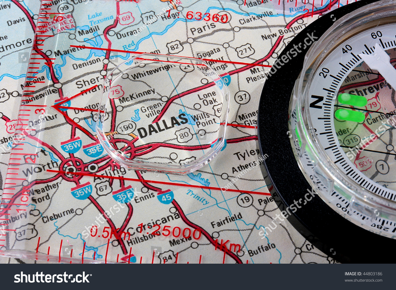 Usa Map City Dallas Compass Magnifying Stock Photo - Usa map with compass