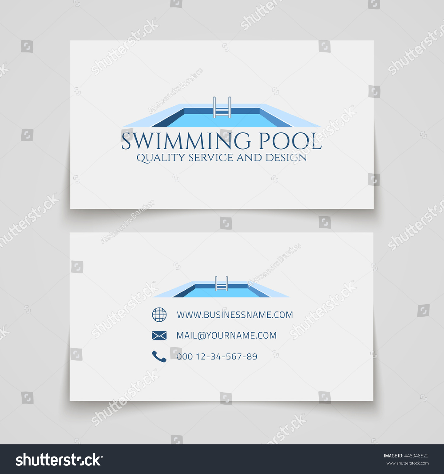 Business Card Template Swimming Pool Quality Stock Vector