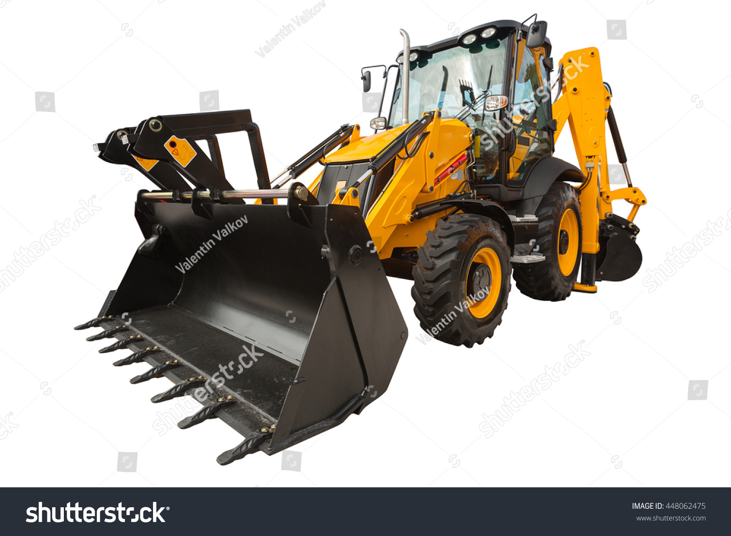 New modern excavator loader with clipping path isolated over white background