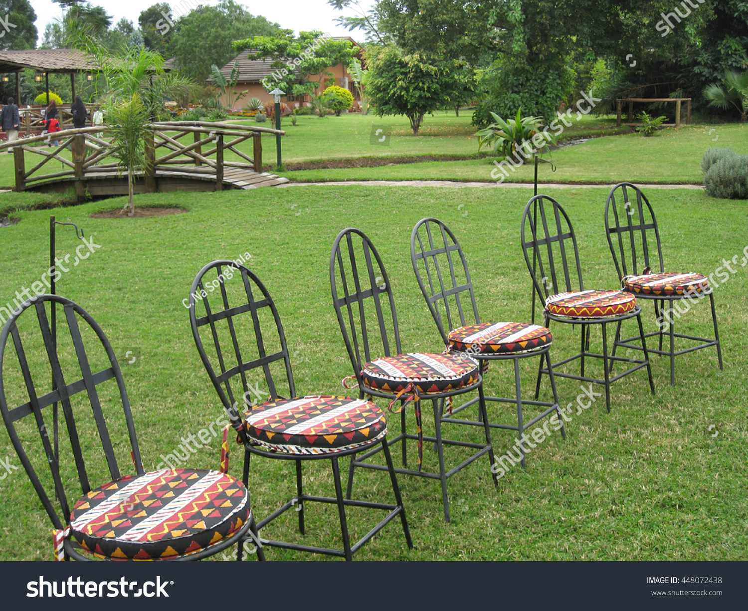 Stupendous Nice Lawn Chairs Night Party Stock Photo Edit Now Interior Design Ideas Pimpapslepicentreinfo