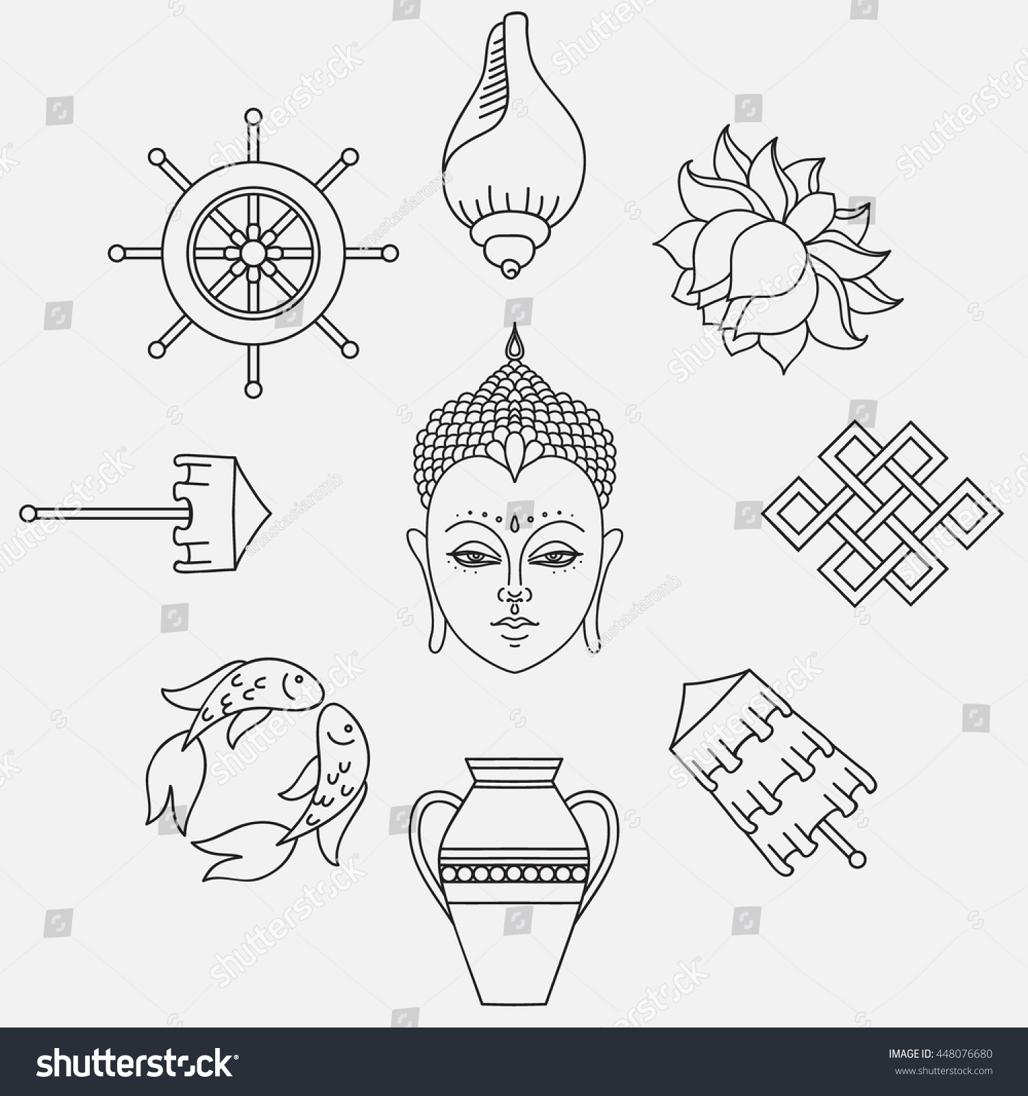 Buddhist symbolism 8 auspicious symbols buddhism stock vector buddhist symbolism the 8 auspicious symbols of buddhism right coiled white conch izmirmasajfo