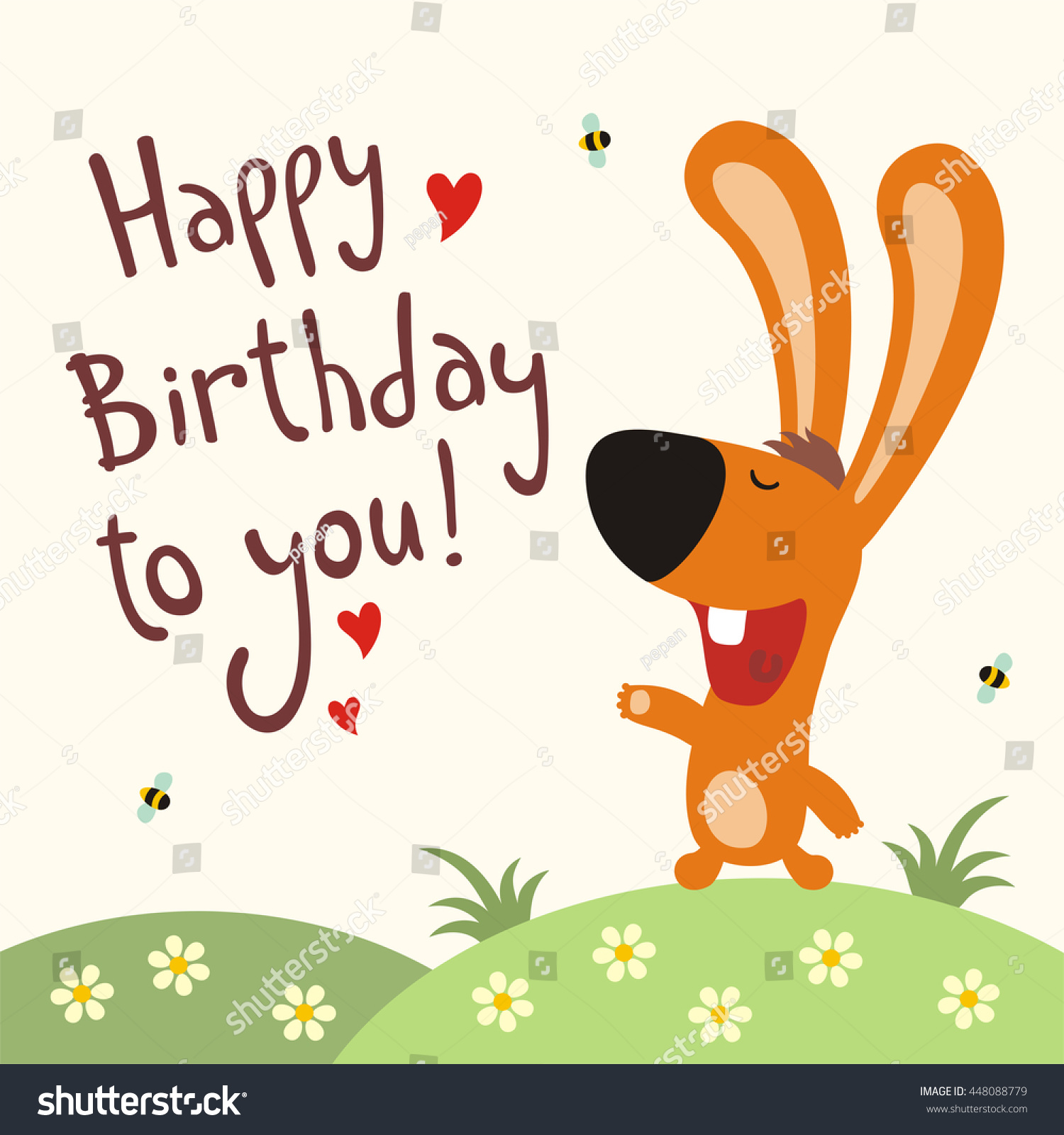 Happy Birthday You Funny Rabbit Sings Vector 448088779 – Happy Birthday Card with Song