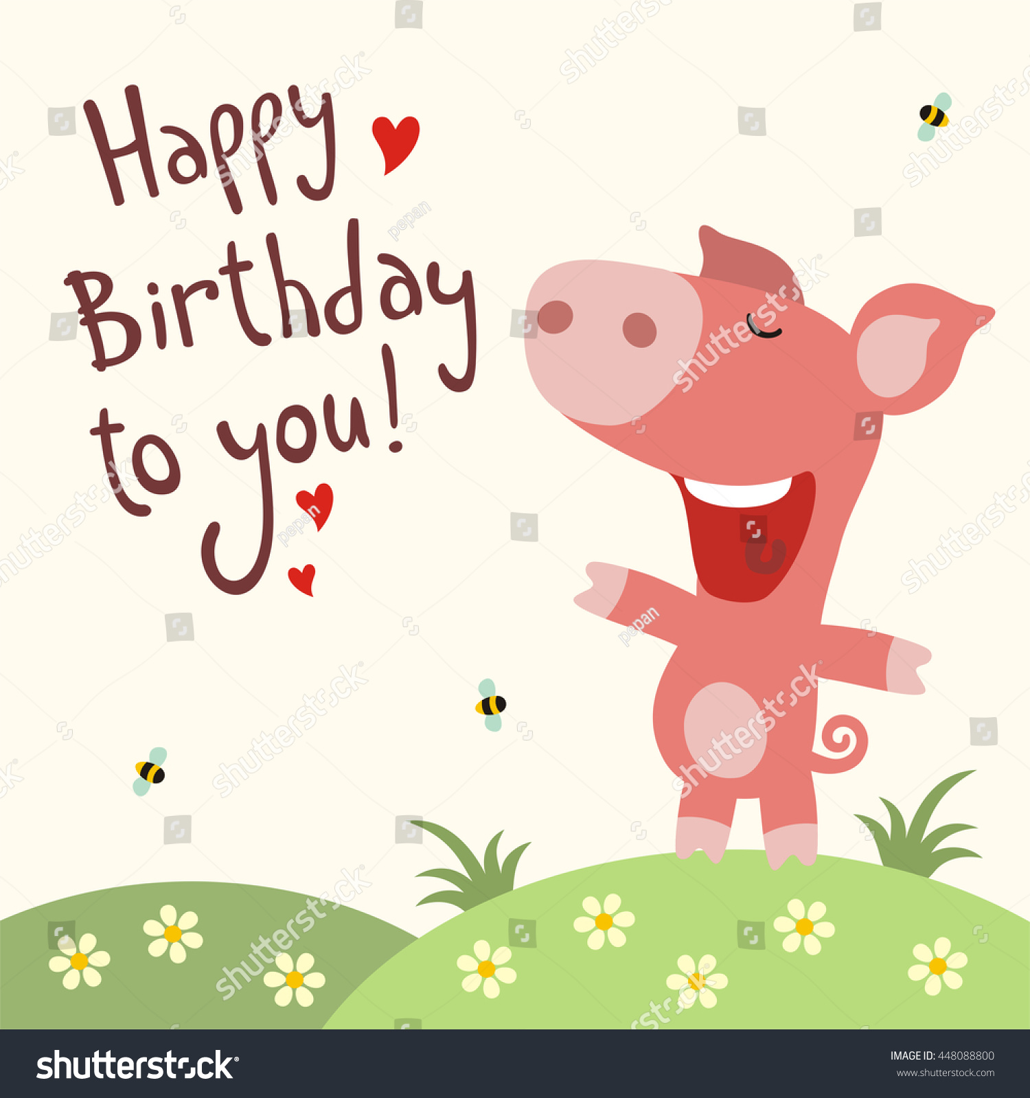 Happy Birthday You Funny Little Pig Vector 448088800 – Happy Birthday Card with Song