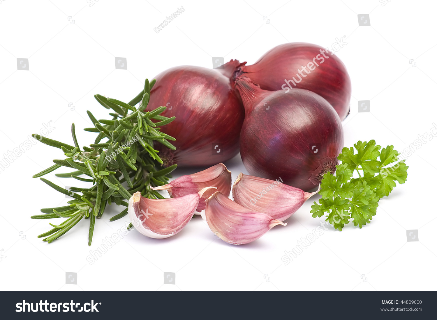 Red Onion, Garlic And Fresh Rosemary Stock Photo 44809600 ...