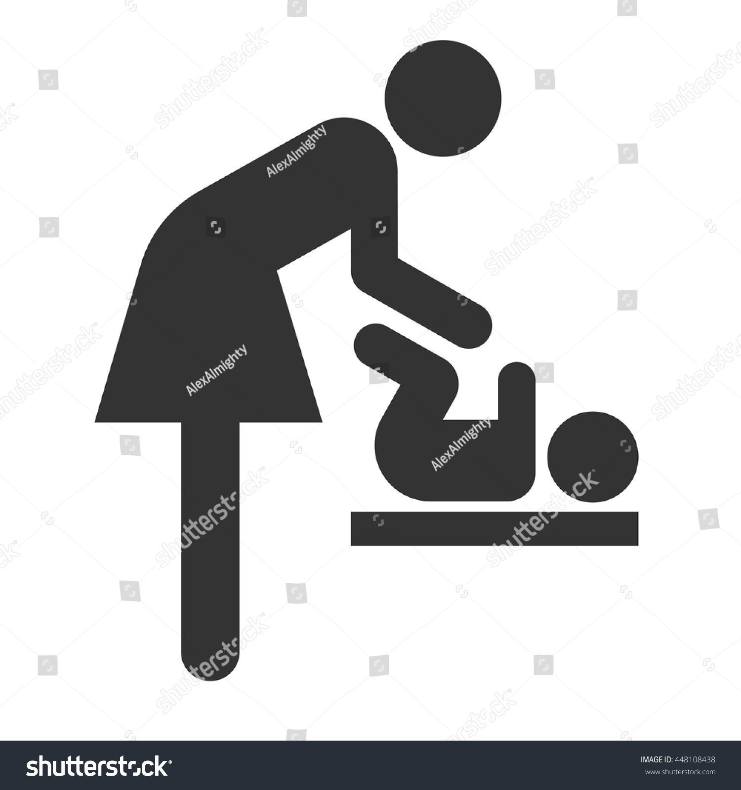 Symbol Woman Baby Toilet Room Mothers Stock Vector Royalty Free