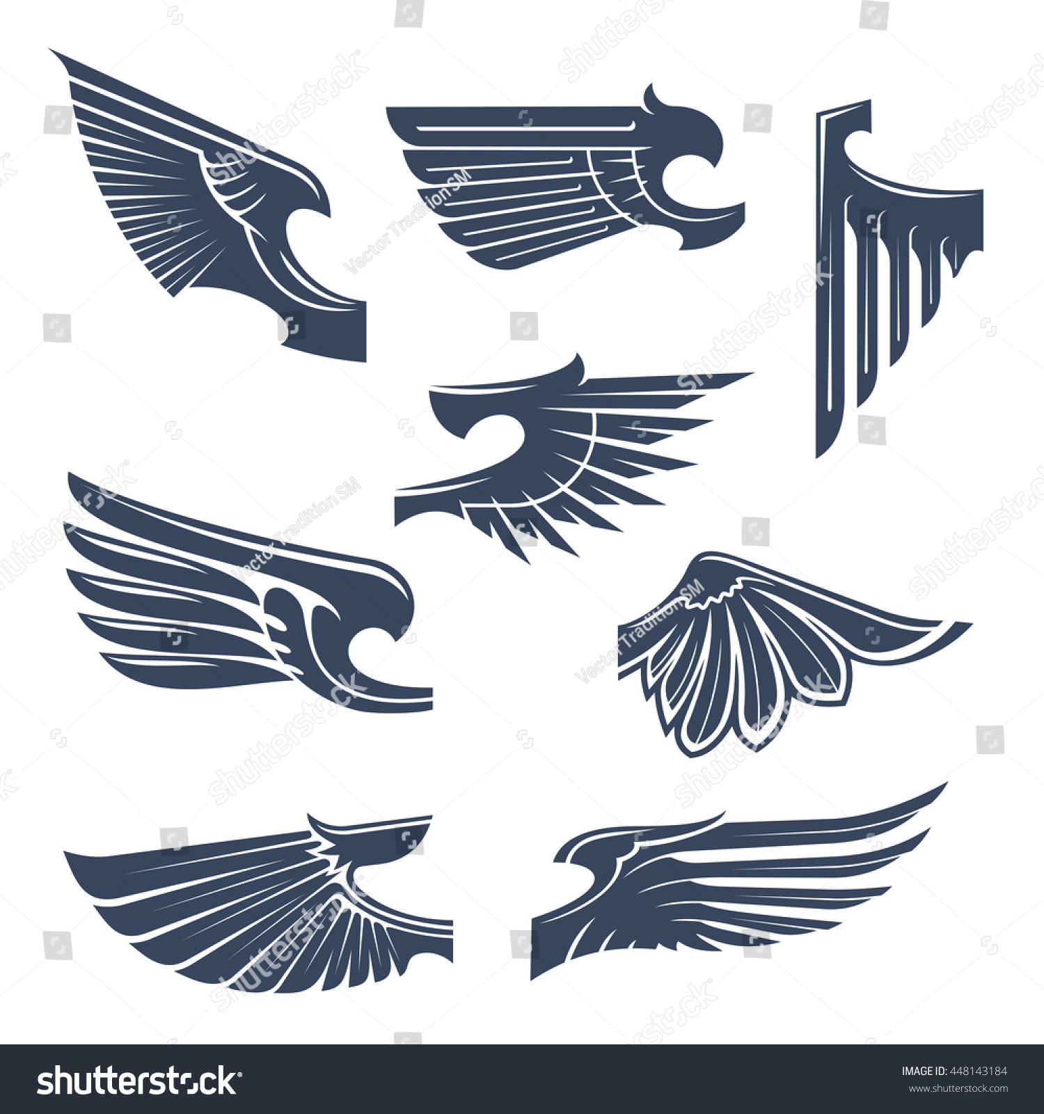 Medieval Heraldry Symbols Birds Mythical Beasts Stock Vector