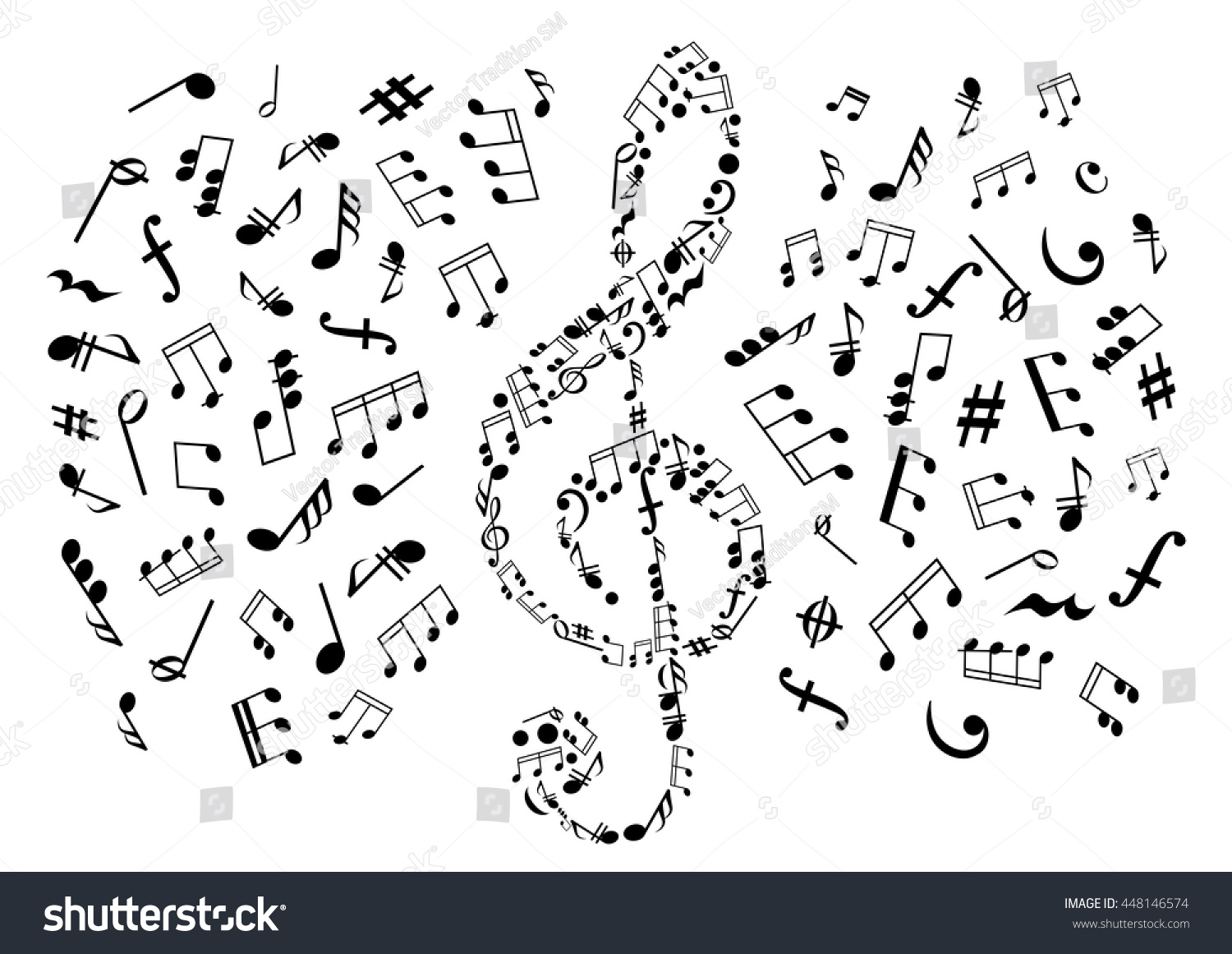 Treble Clef Composed Musical Symbols Marks Stock Vector Royalty