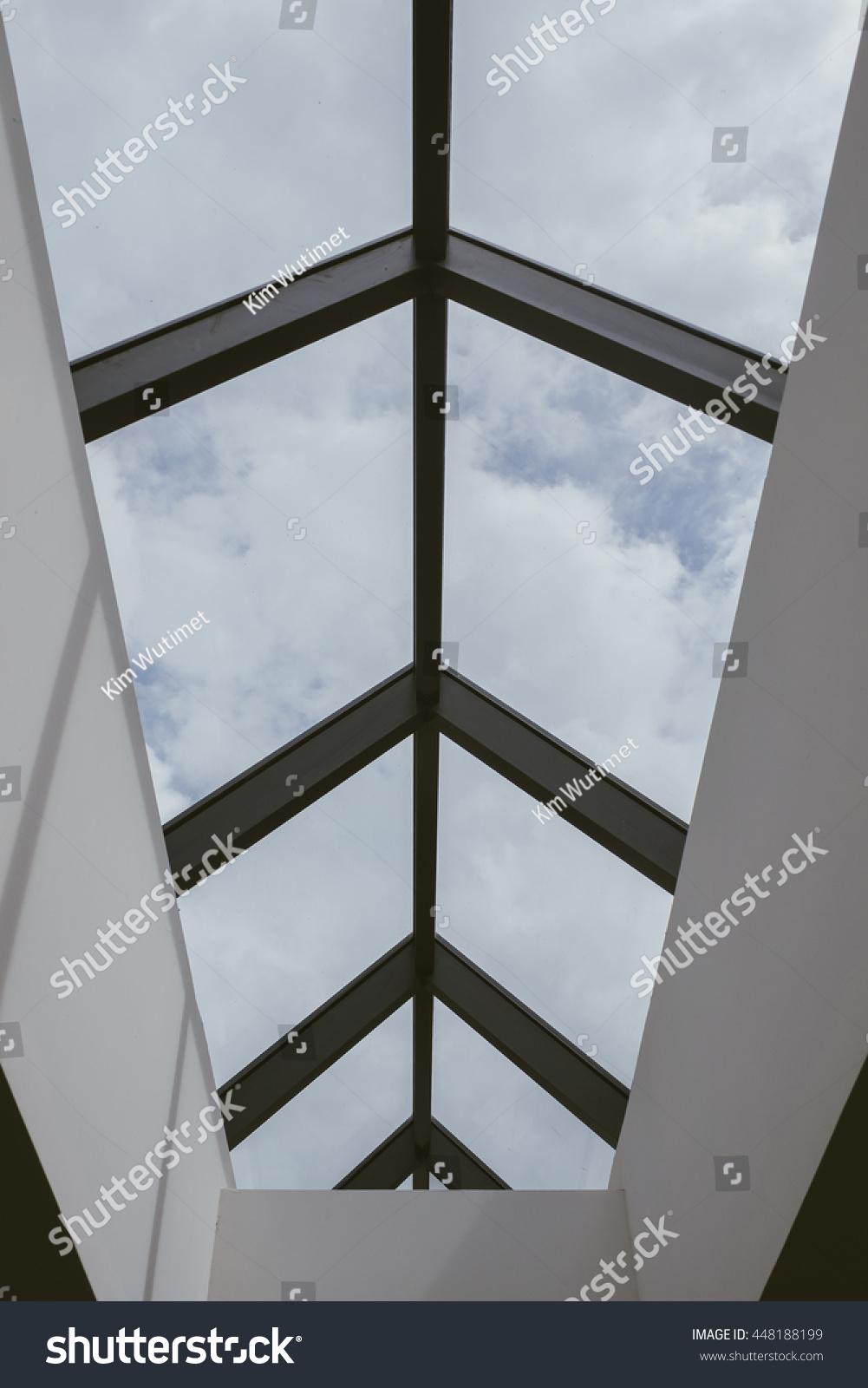 Glass roof design see through sky stock photo 448188199 for Glass roof design