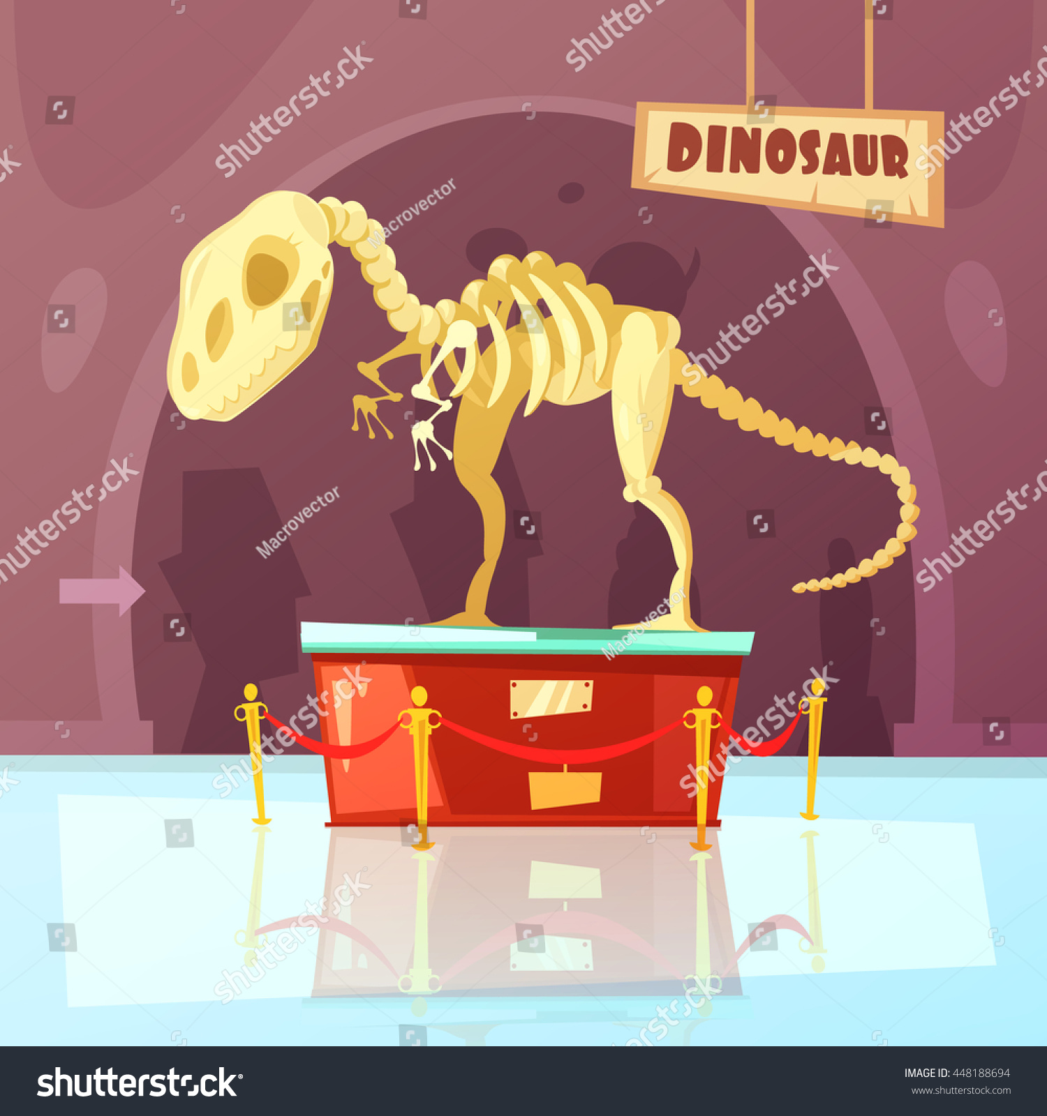 Color cartoon illustration of museum exibition about dinosaur vector illustration