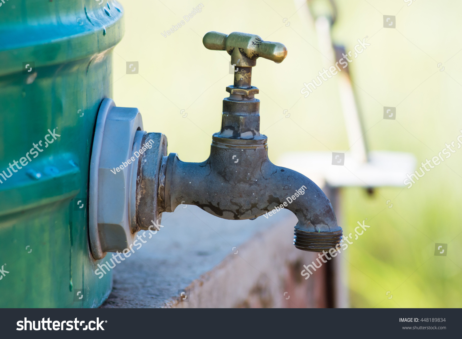 Outside Tap On Plastic Water Tank Stock Photo (Edit Now