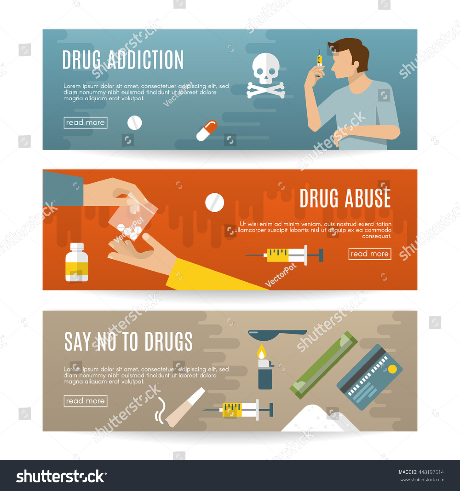 flat drugs banner set descriptions drug stock vector 448197514