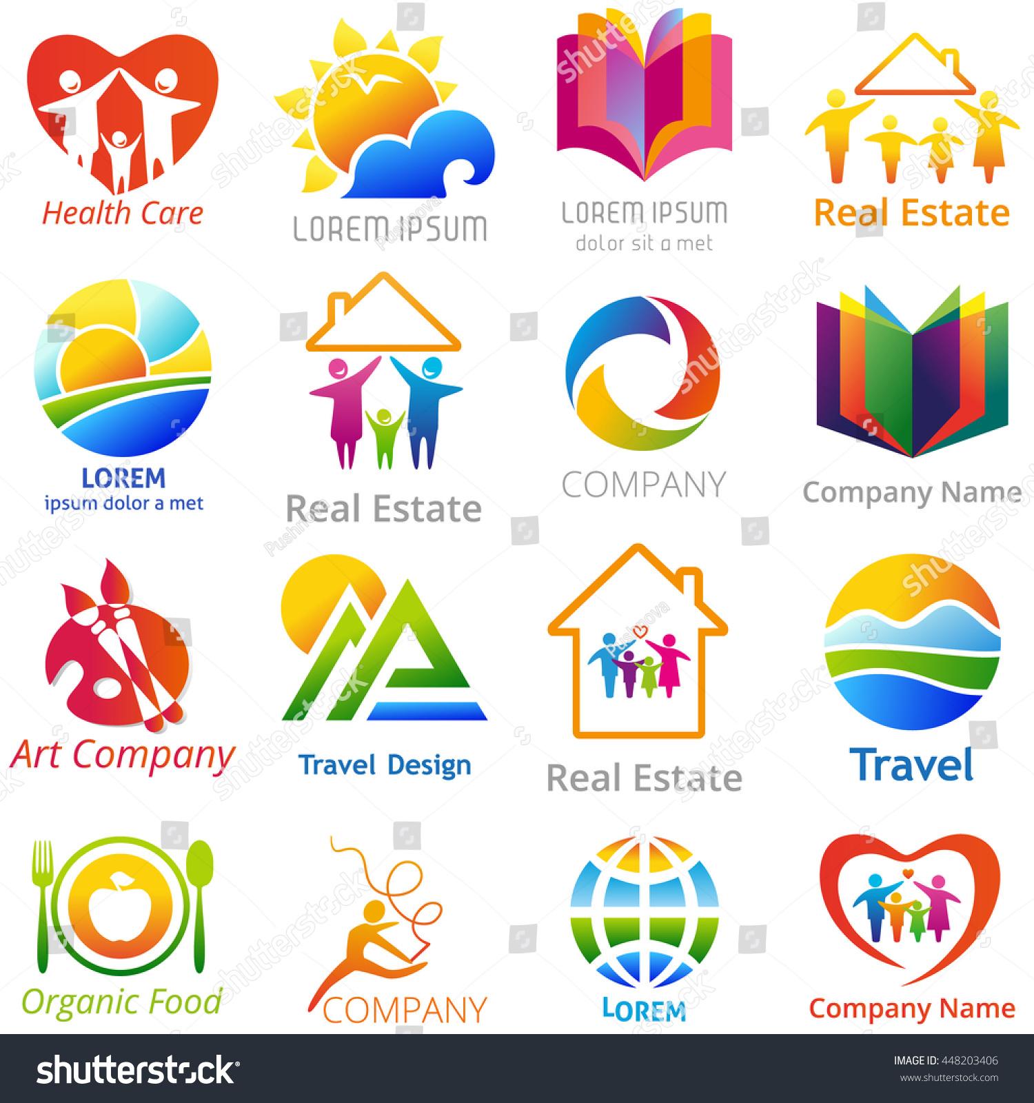 Set Company Name Logo Concepts Illustration Stock Illustration