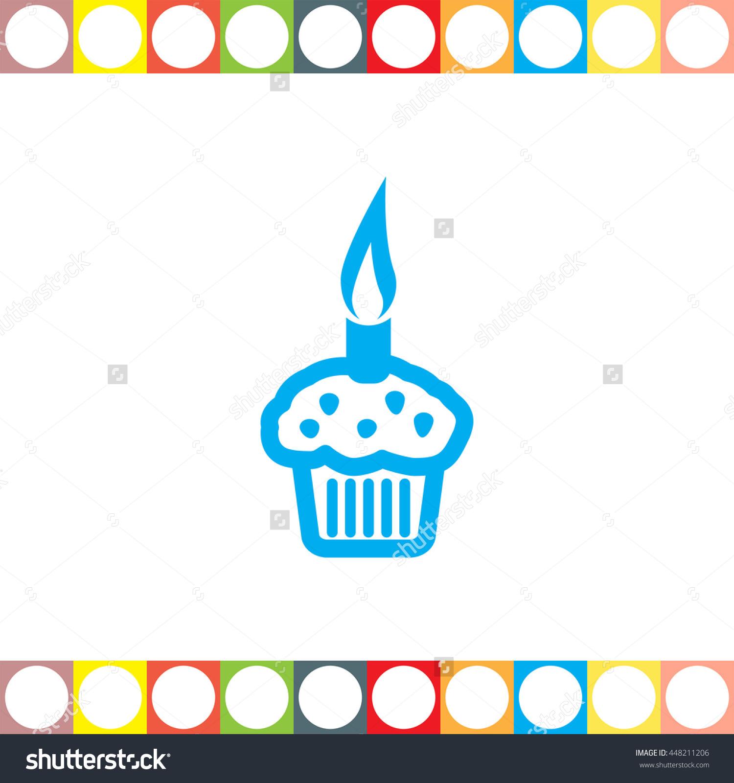 Cupcake Vector Icon. Cake Sign. Birthday Symbol - 448211206 ...