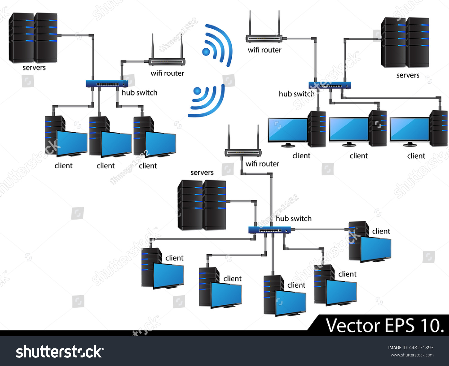Lan network diagram icons vector illustrator em vetor stock lan network diagram icons vector illustrator eps 10 for business and technology concept ccuart Choice Image