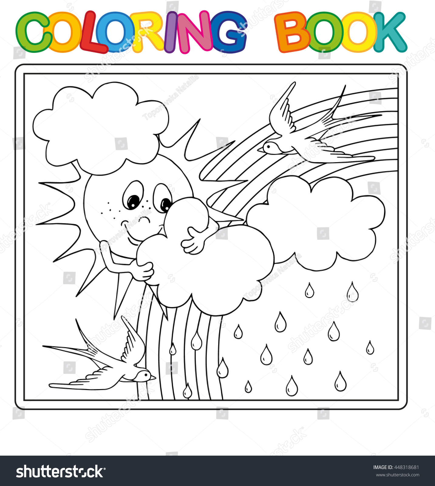 Rainbow and rain coloring pages - Vector Coloring Book Page For Children Funny Sun Behind The Clouds Rain And Rainbow