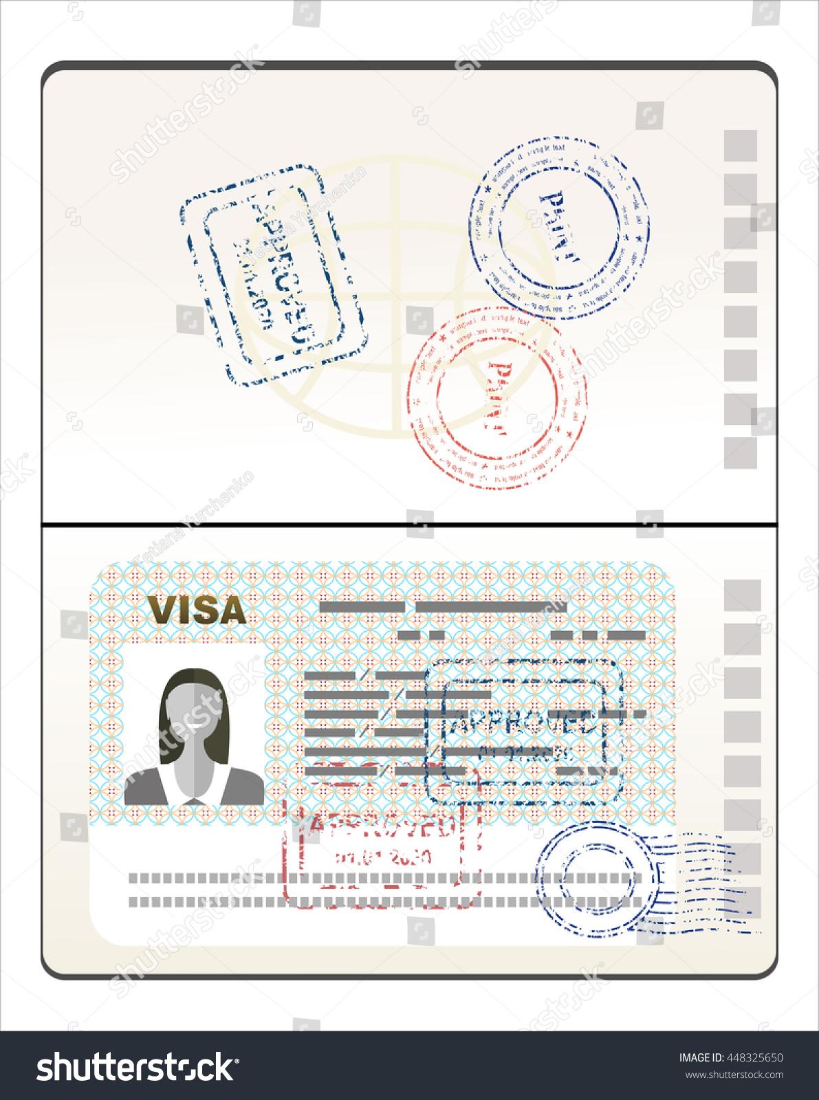 Visa Stamp Passport Stock Vector Royalty Free 448325650 Shutterstock E Circuit Diagram