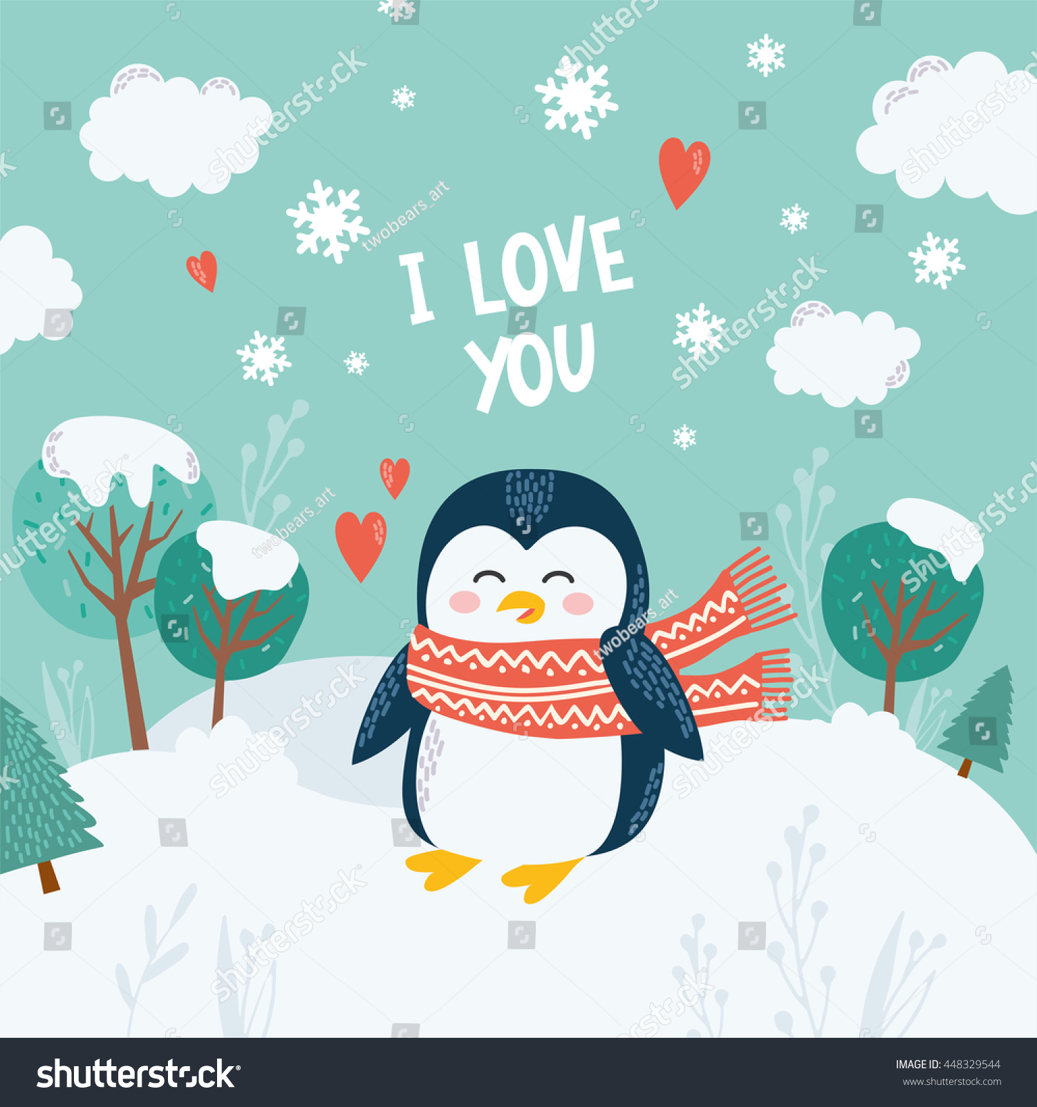 Greeting card with cute happy penguin on winter landscape Illustration with snow-covered trees drift and snowflakes Design for postcard and poster