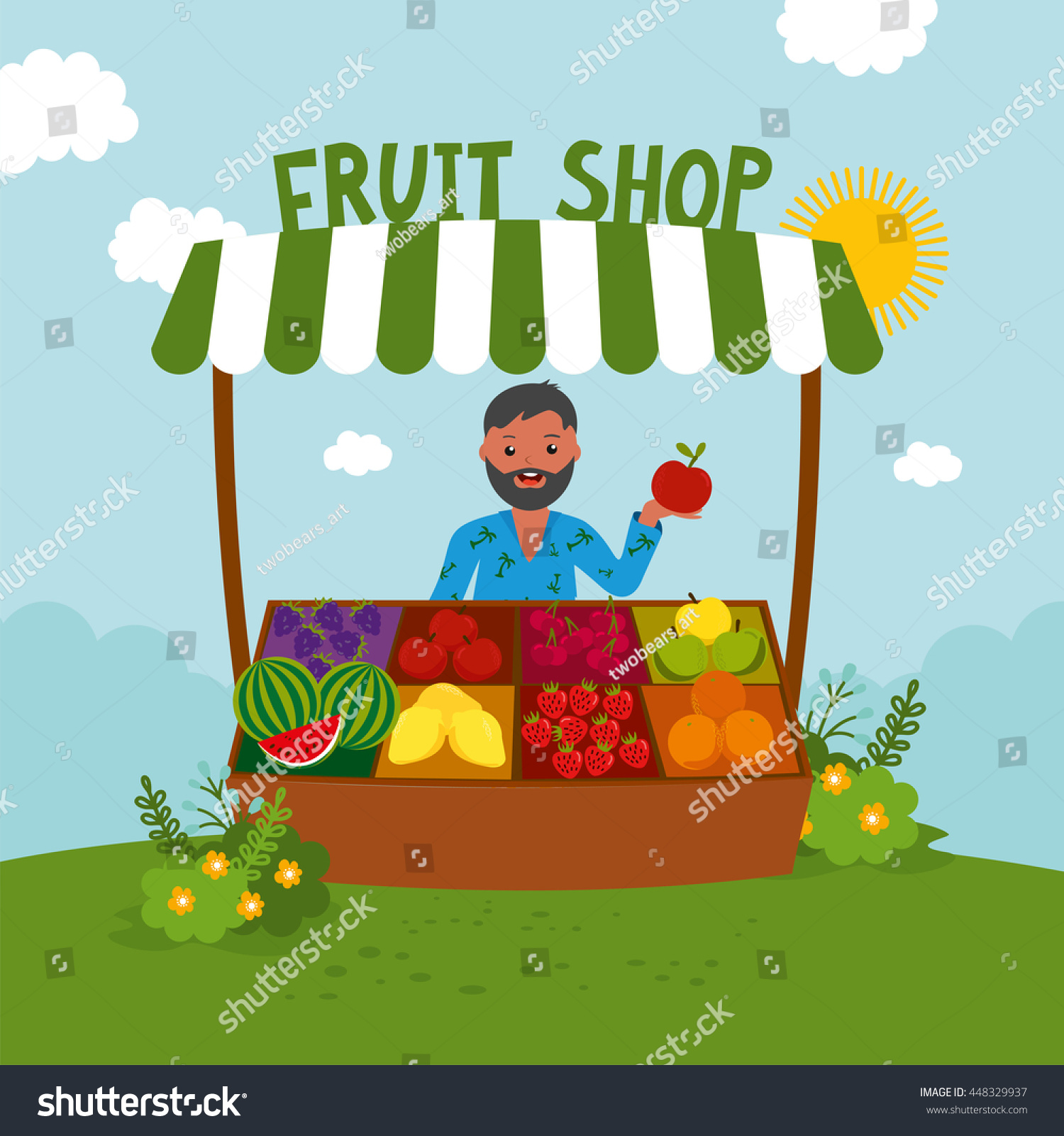 fruit berries retail business owner working stock vector Vegetable Stand Clip Art Vegetable Stand Clip Art