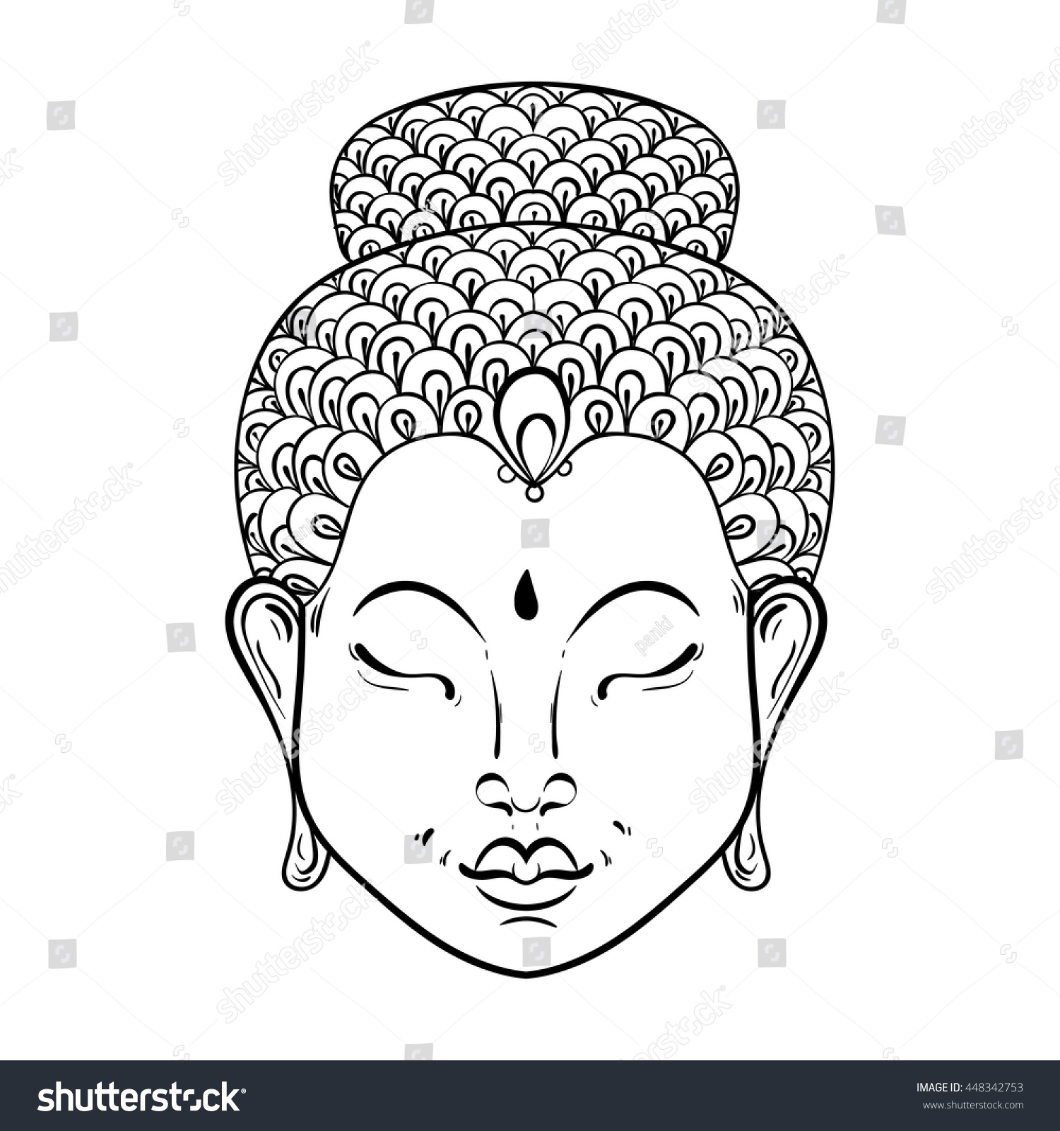 vector artistically portrait buddha ornamental stock vector