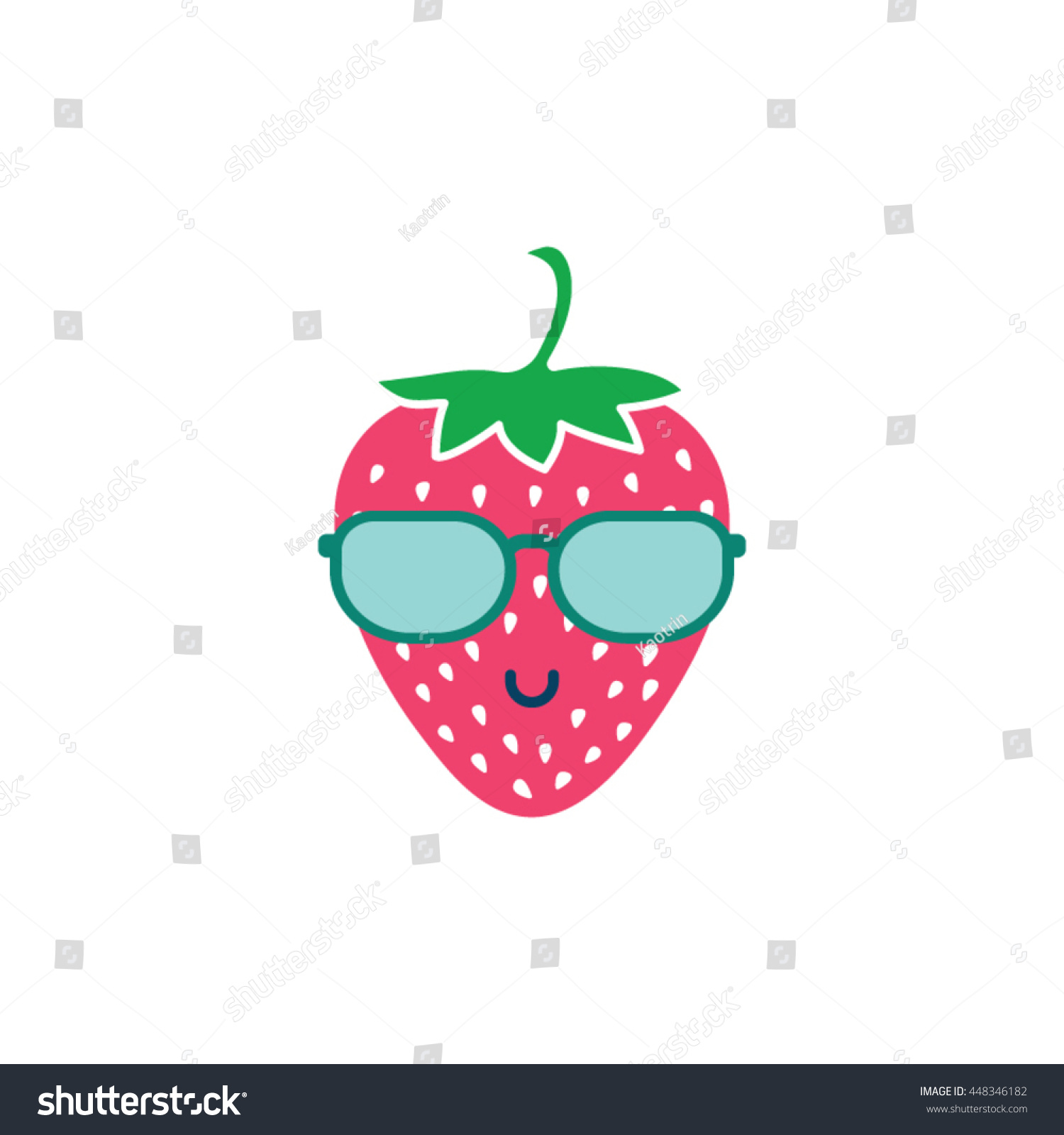 a82cf487b9021 Cool strawberry with sunglasses smile vector illustration vector icon.  Funny cartoon character of strawberry