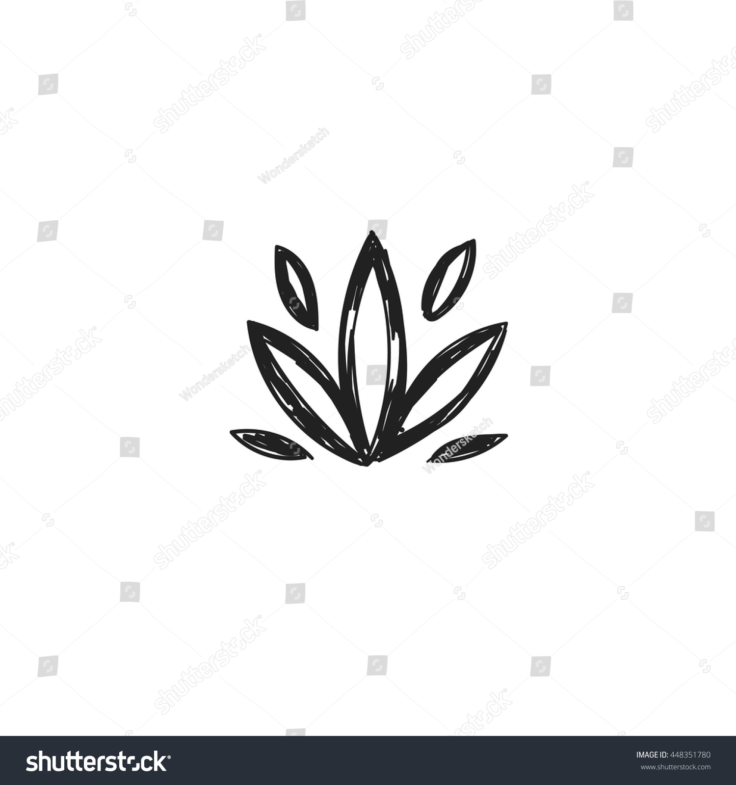 Lotus Flower Symbol Vector Handsketched Illustration Stock Vector