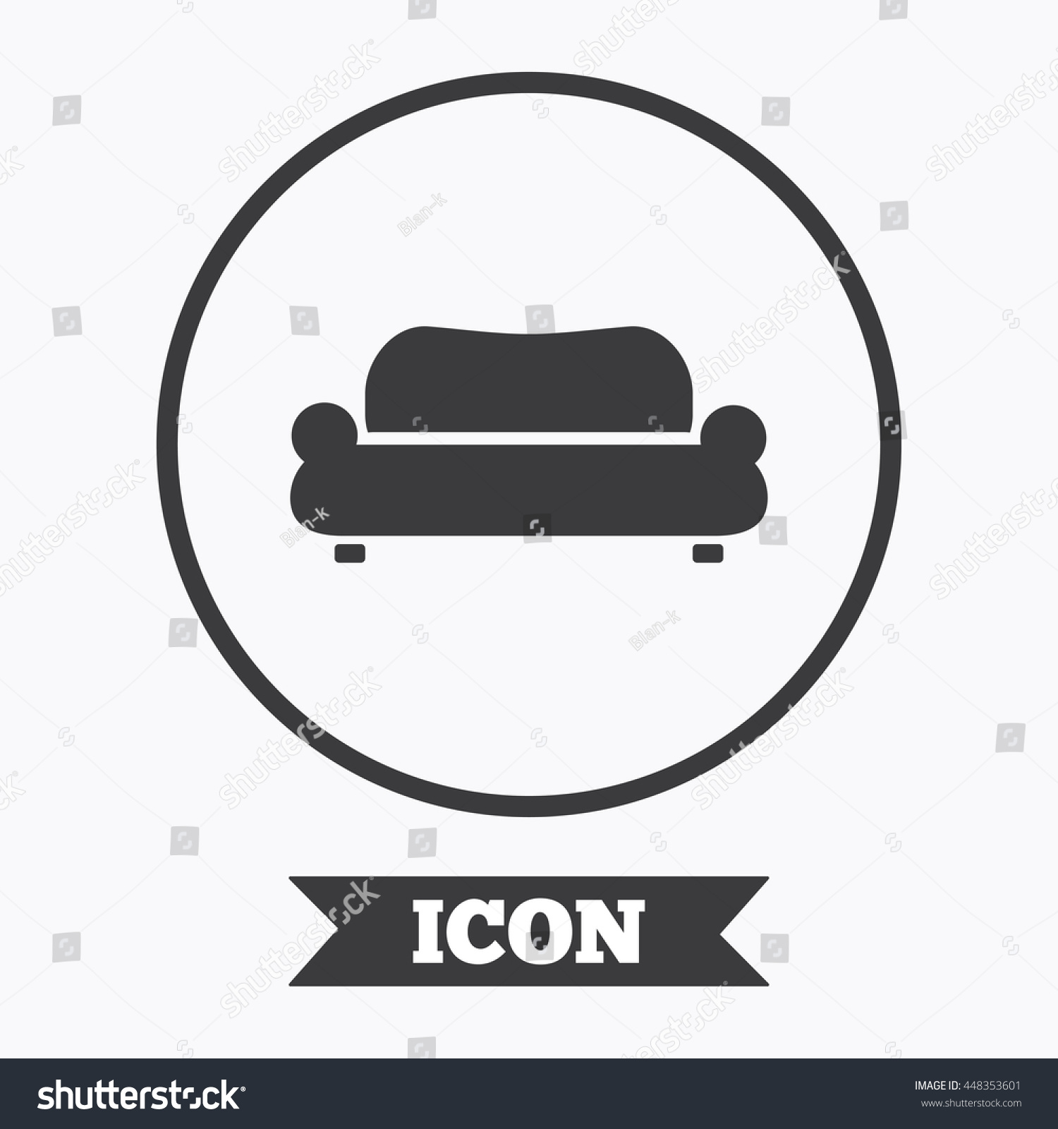 Comfortable Sofa Sign Icon Modern Couch Stock Vector Royalty Free