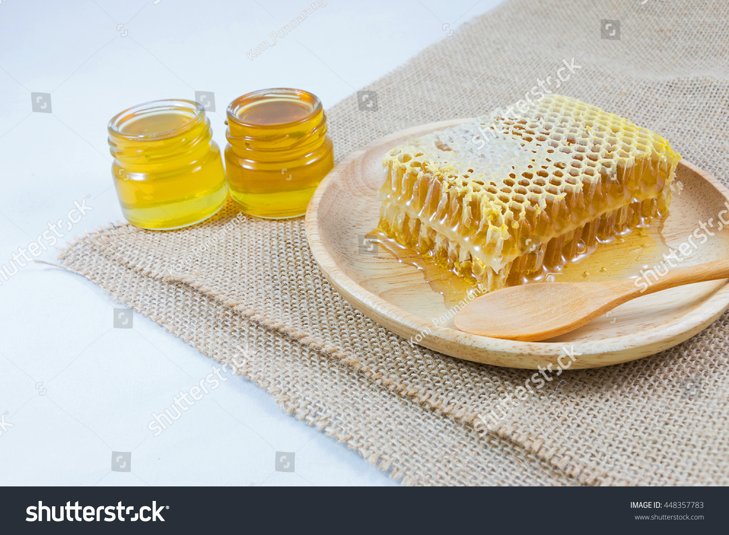 Honeycomb Wooden Spoon Wood Dish Small Stock Photo Edit Now