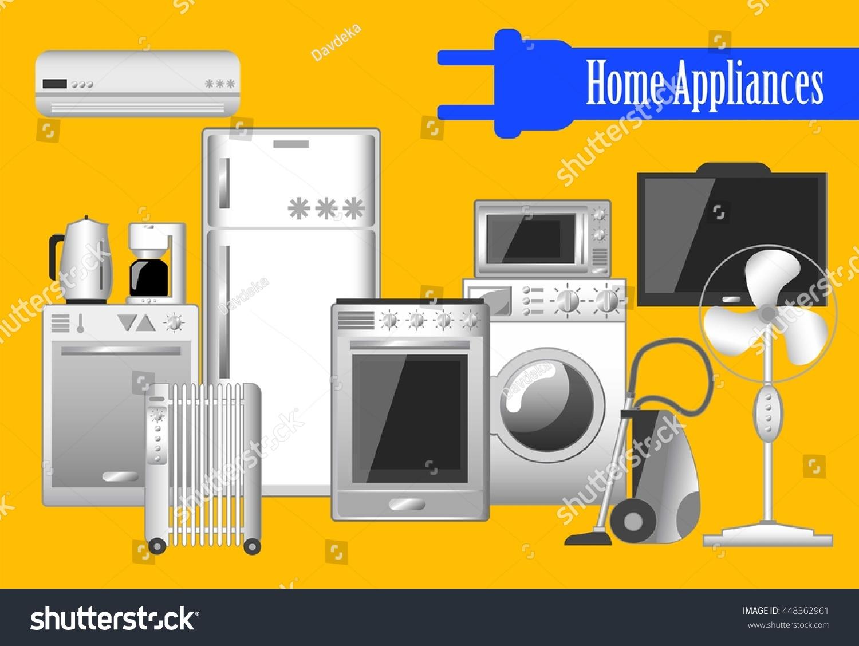 Household Kitchen Appliances ~ Home appliances set vector illustrations electronic stock