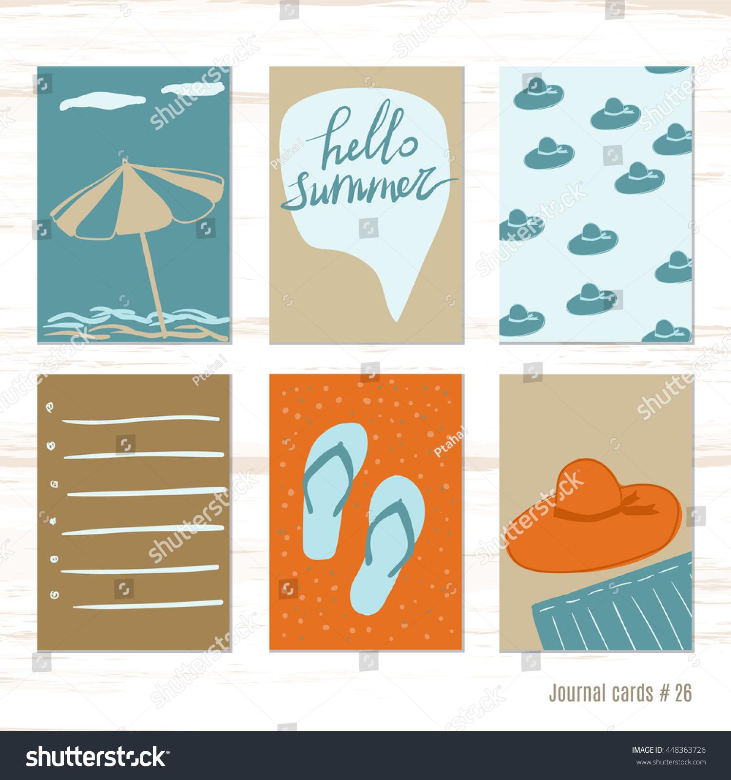 beach umbrella flip flops panama vector stock vector 448363726