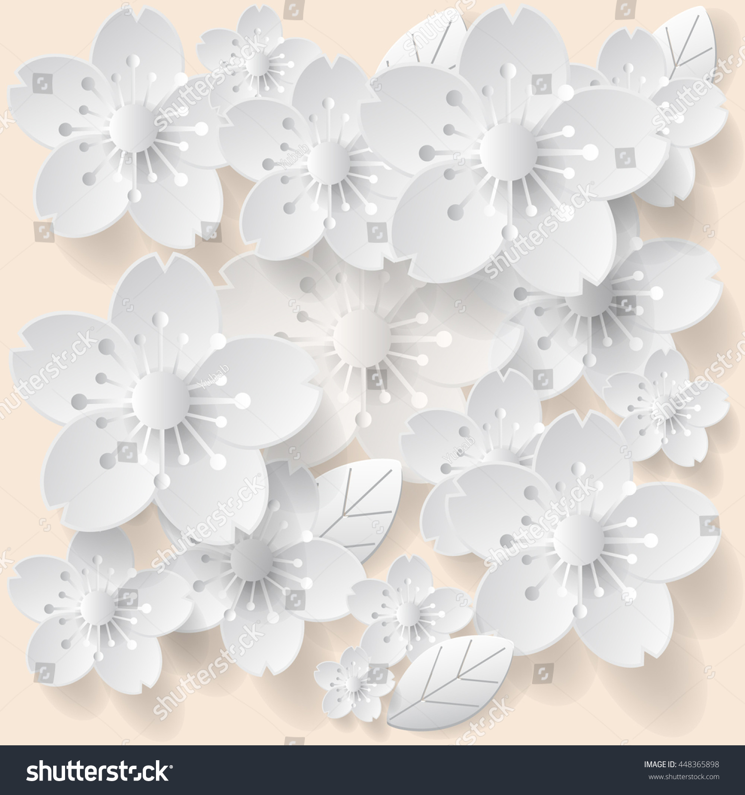 Paper Art Flower Background Origami Flower Stock Vector Royalty
