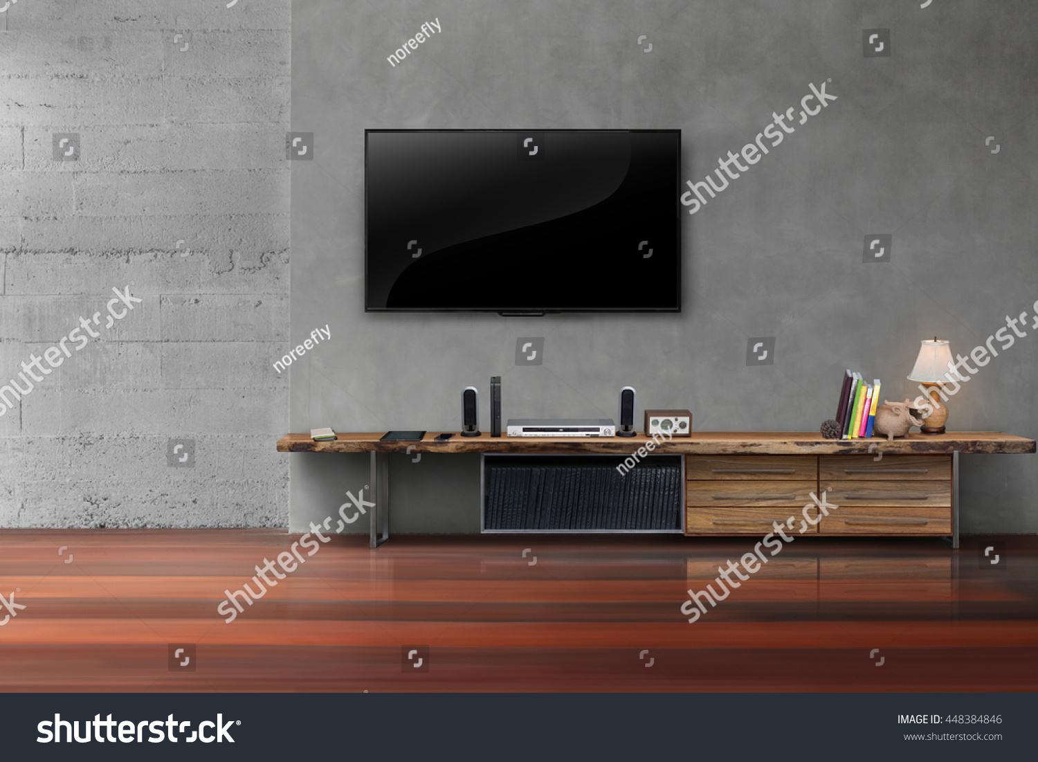 living room led tv on concrete wall with wooden table media furniture modern loft style: furniture living room wall