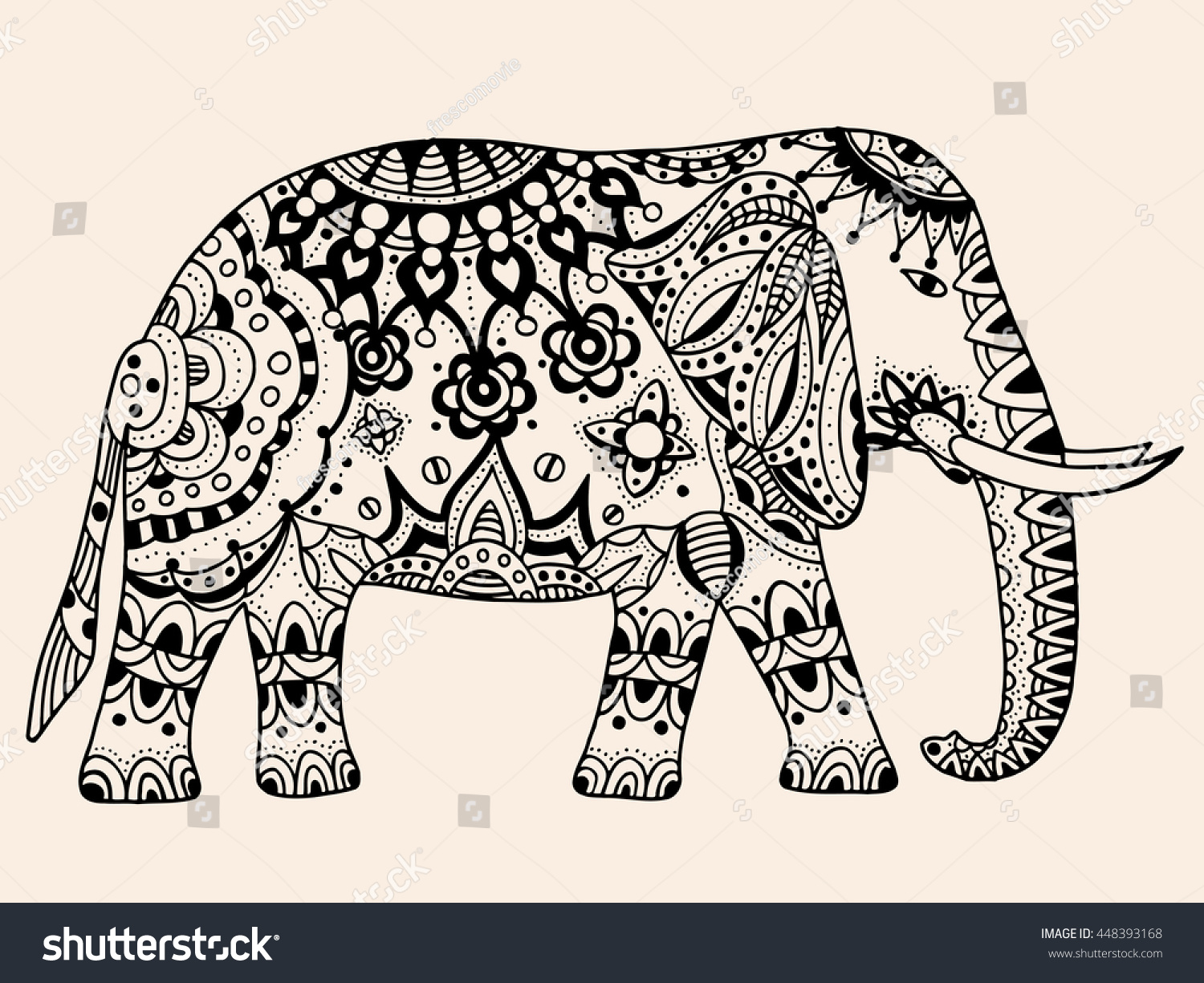 Royalty-free Indian elephant. Hand drawn doodle… #448393168 Stock ...