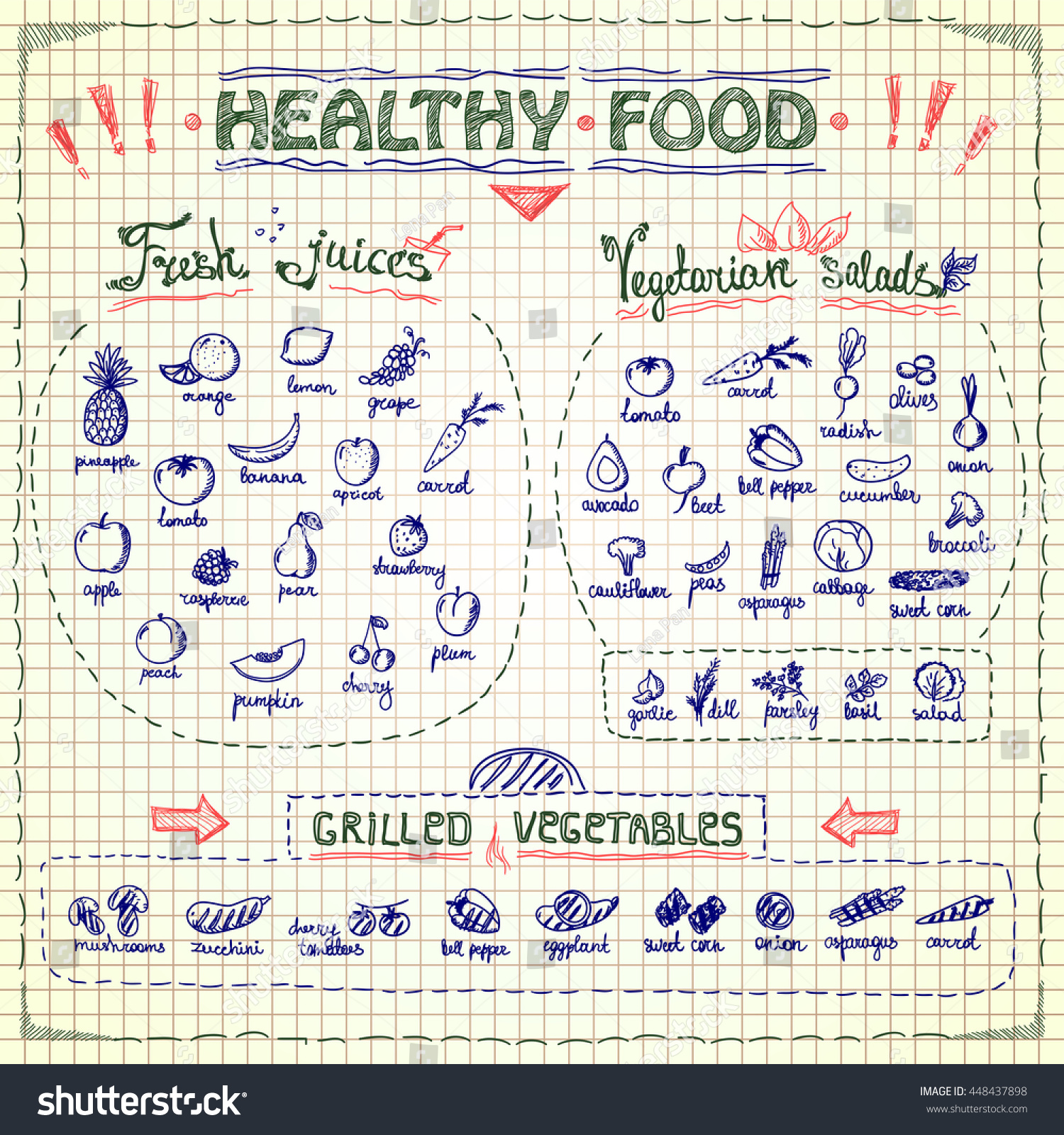 Healthy Food Menu List With Hand Drawn Assorted Fruits And Vegetables  Graphic Symbols, Vector Collection