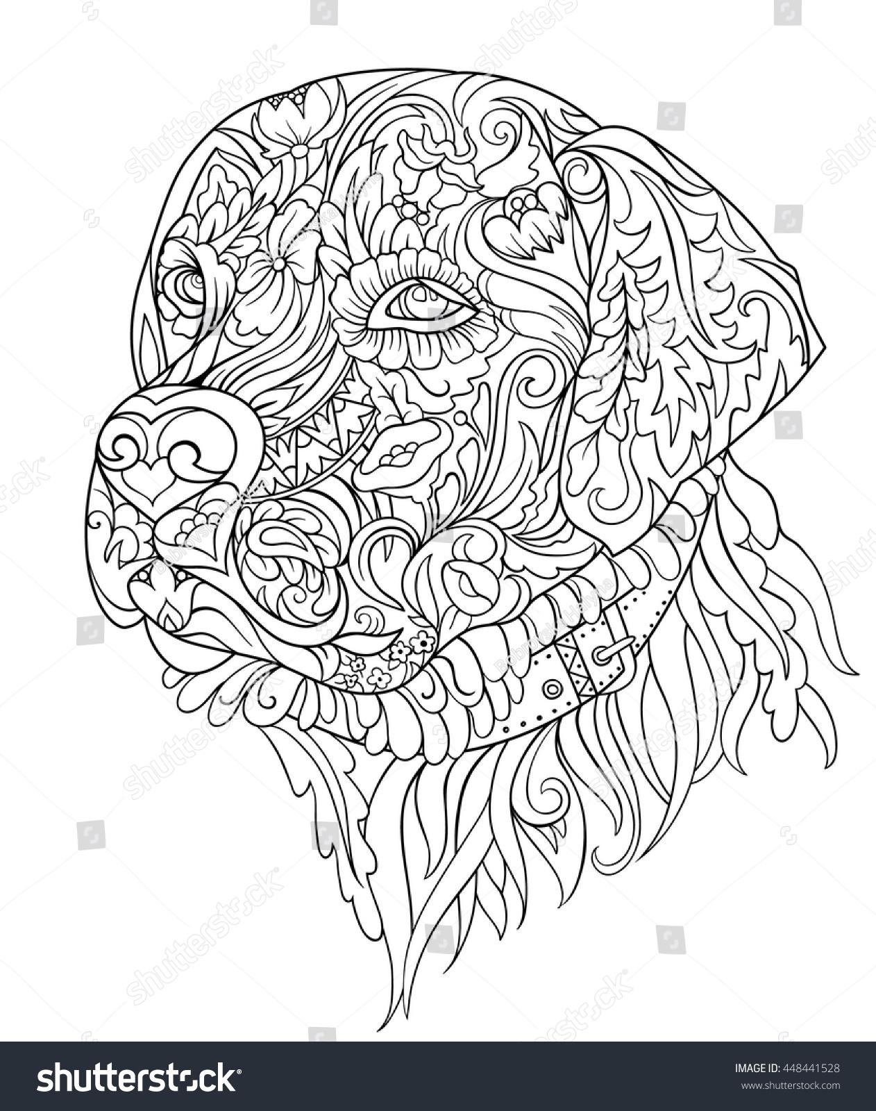 Zentangle Cute Dog Hand Drawn Sketch Stock Vector ...