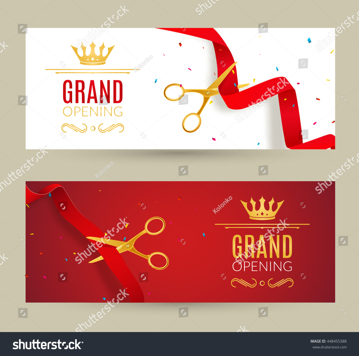 grand opening invitation banner red ribbon stock vector 448455388