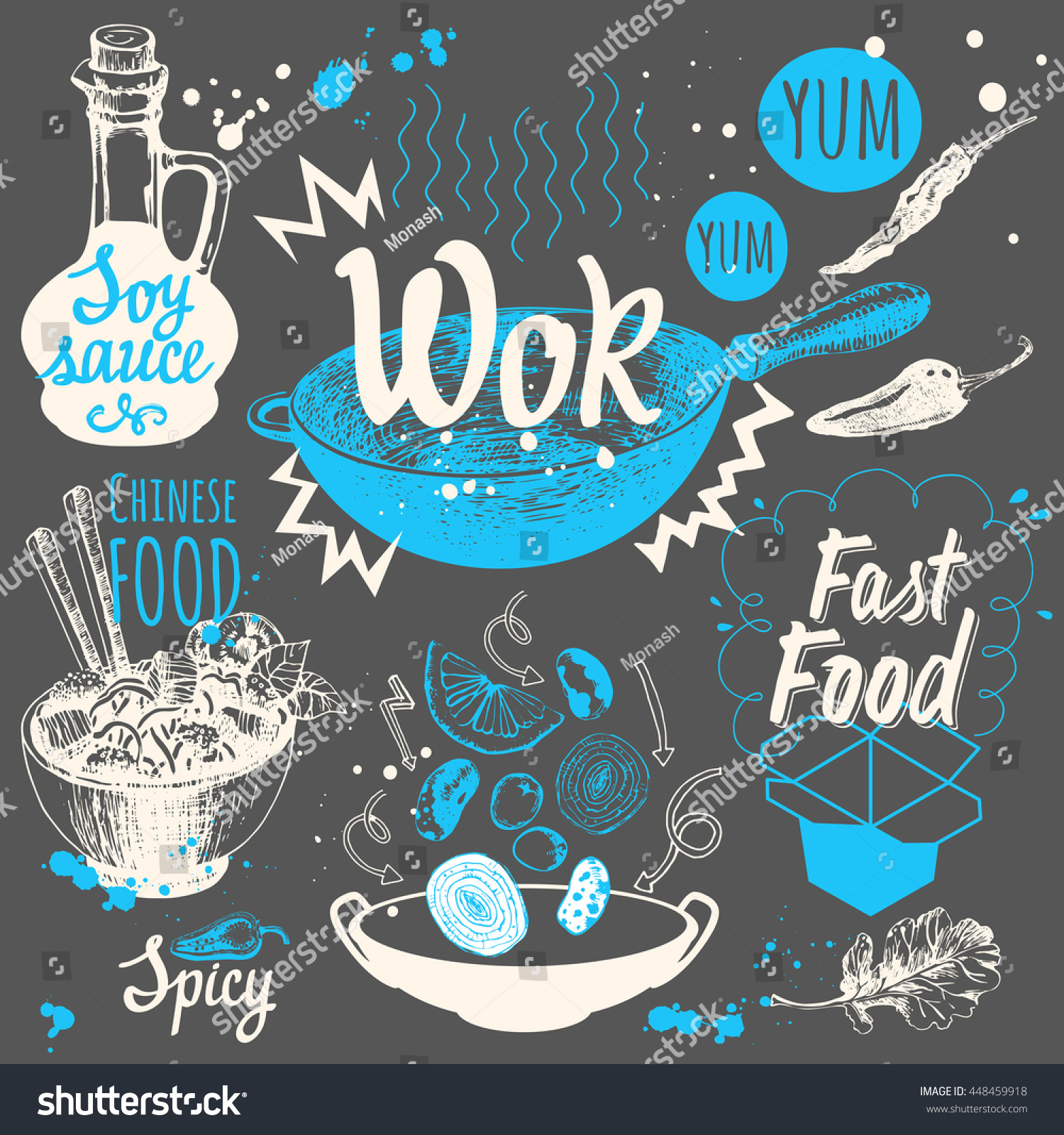 Vector Food Illustration Wok Products Sketch Stock Vector Hd