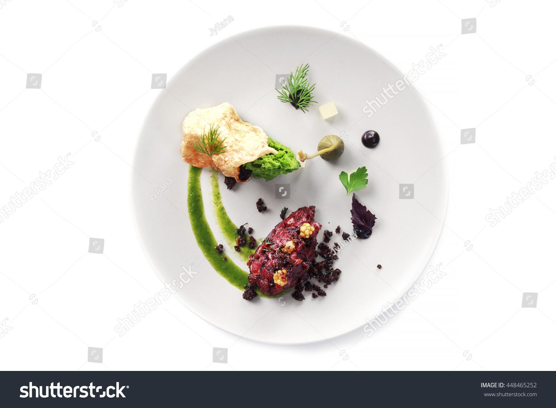 Molecular Modern Cuisine Chips Pigskin Tartare Stockfoto (Jetzt ...