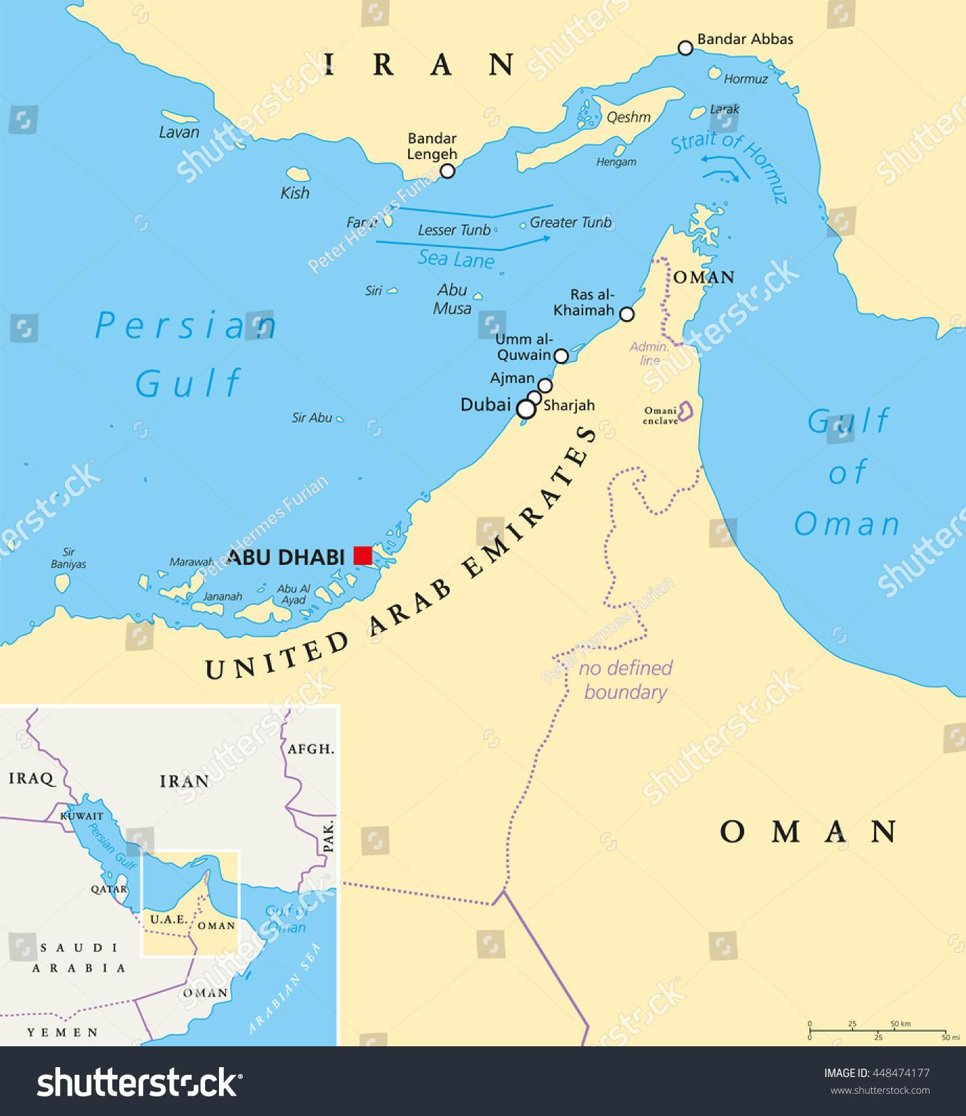 Middle East Map Strait Of Hormuz.Strait Hormuz Abu Musa Tunbs Political Stock Vector Royalty Free